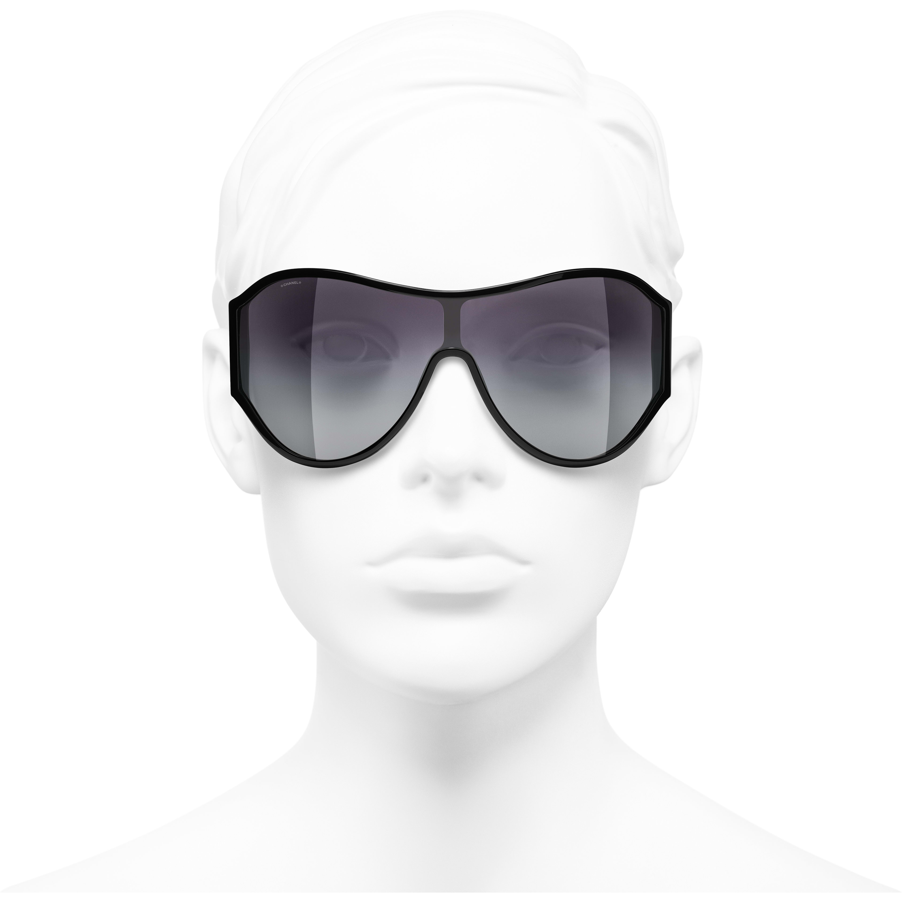 Shield Sunglasses - Black - Acetate - CHANEL - Worn front view - see standard sized version