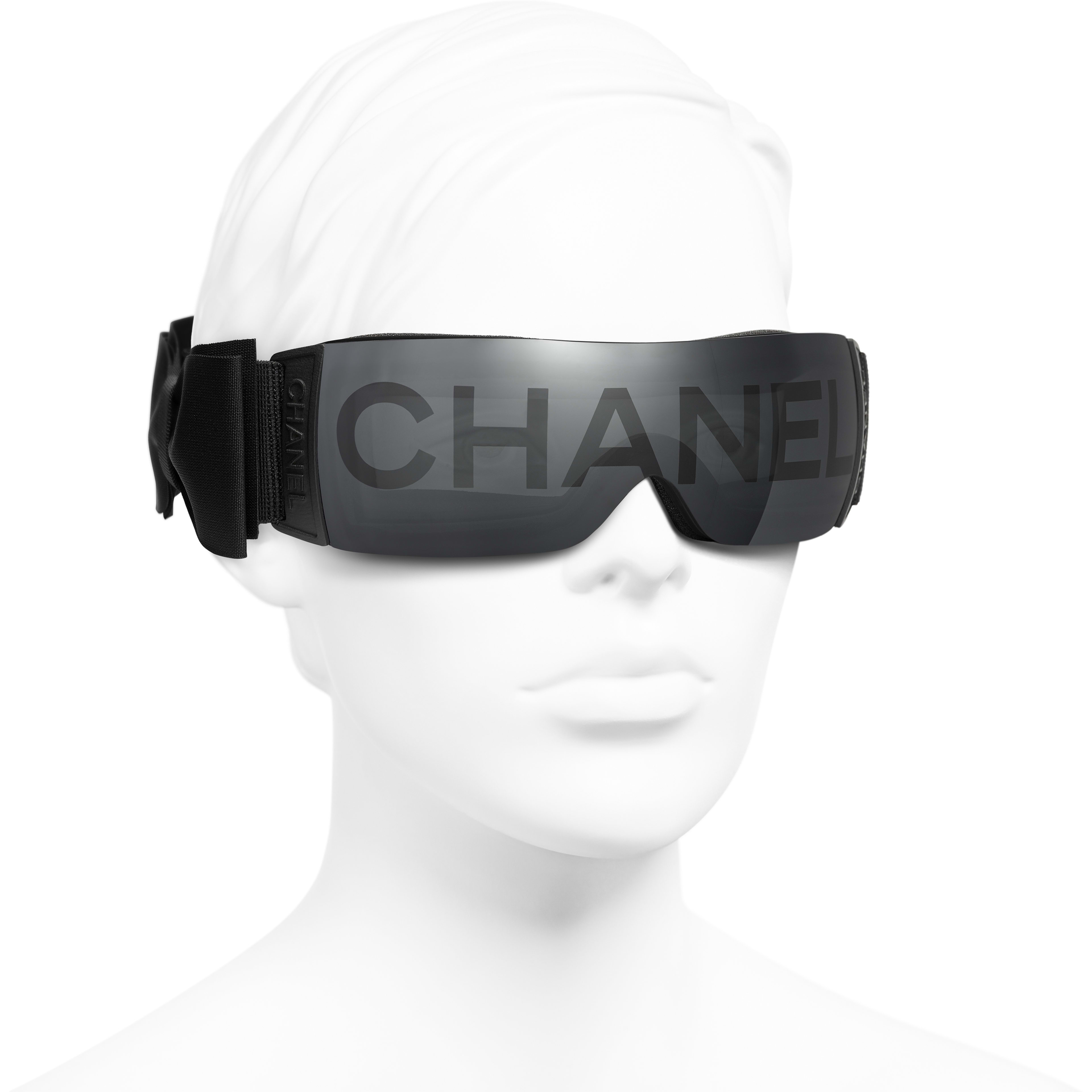 Shield Sunglasses - Black - Nylon Fibre - CHANEL - Worn 3/4 view - see standard sized version