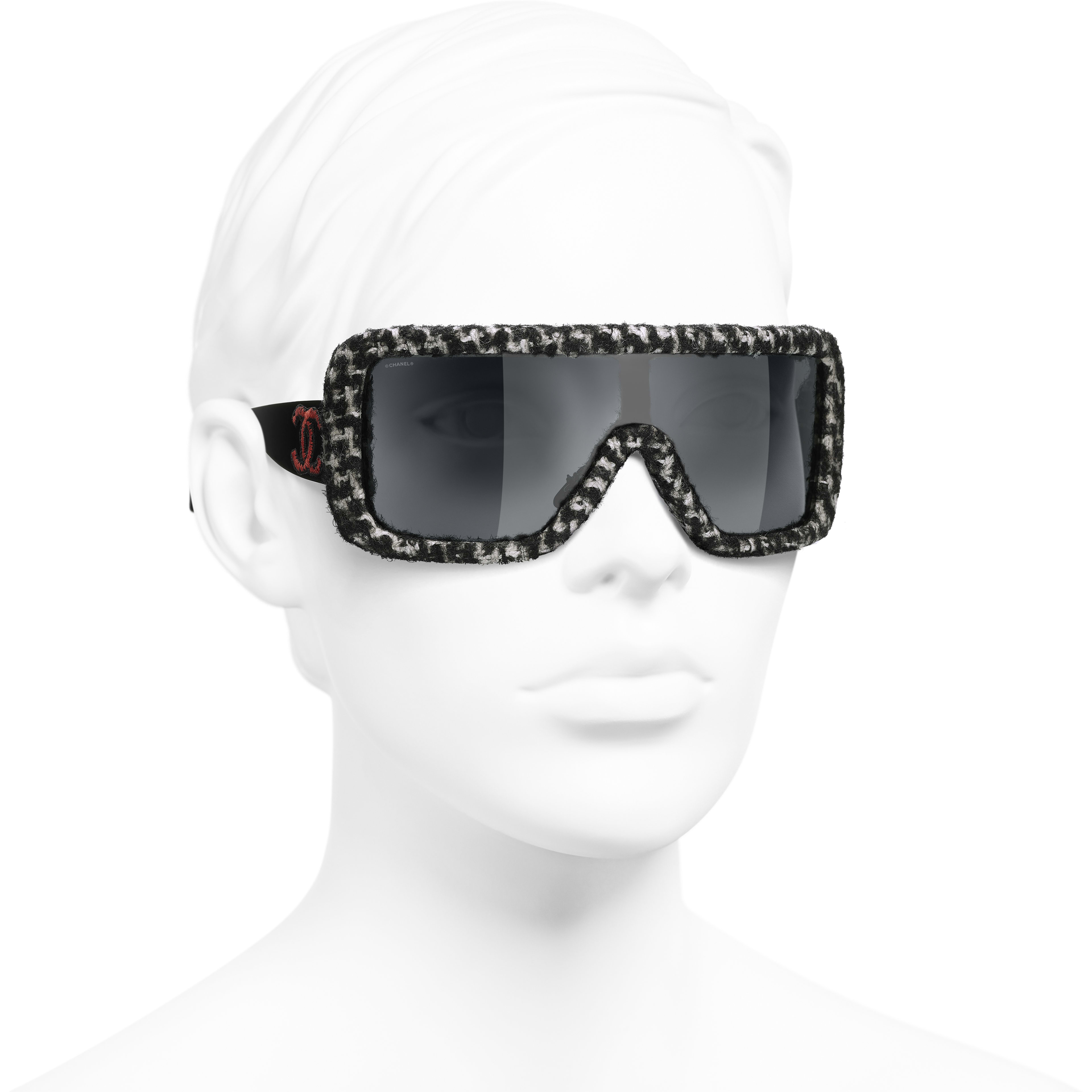 Shield Sunglasses - Black & White - Acetate & Tweed - Worn 3/4 view - see standard sized version