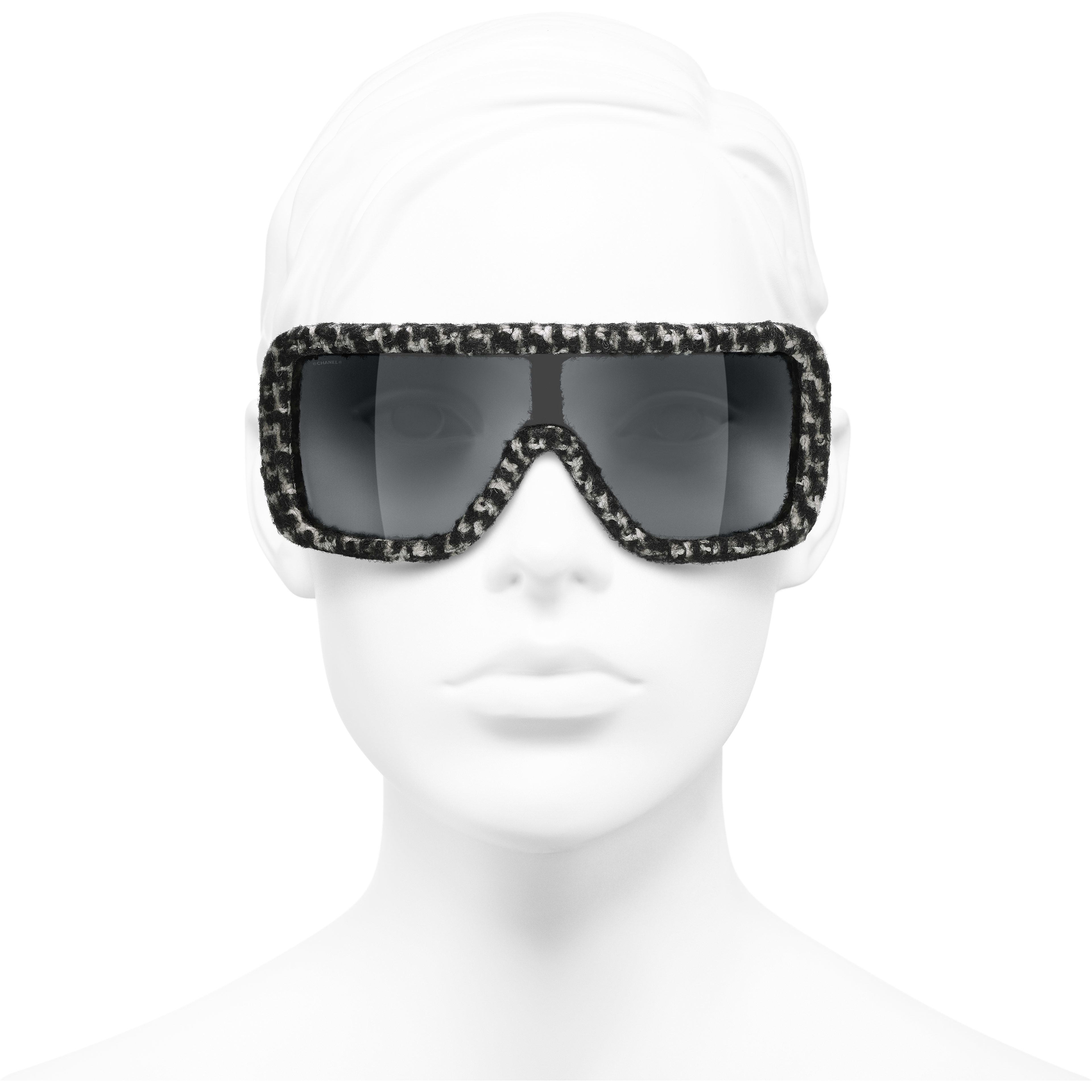 Shield Sunglasses - Black & White - Acetate & Tweed - Worn front view - see standard sized version