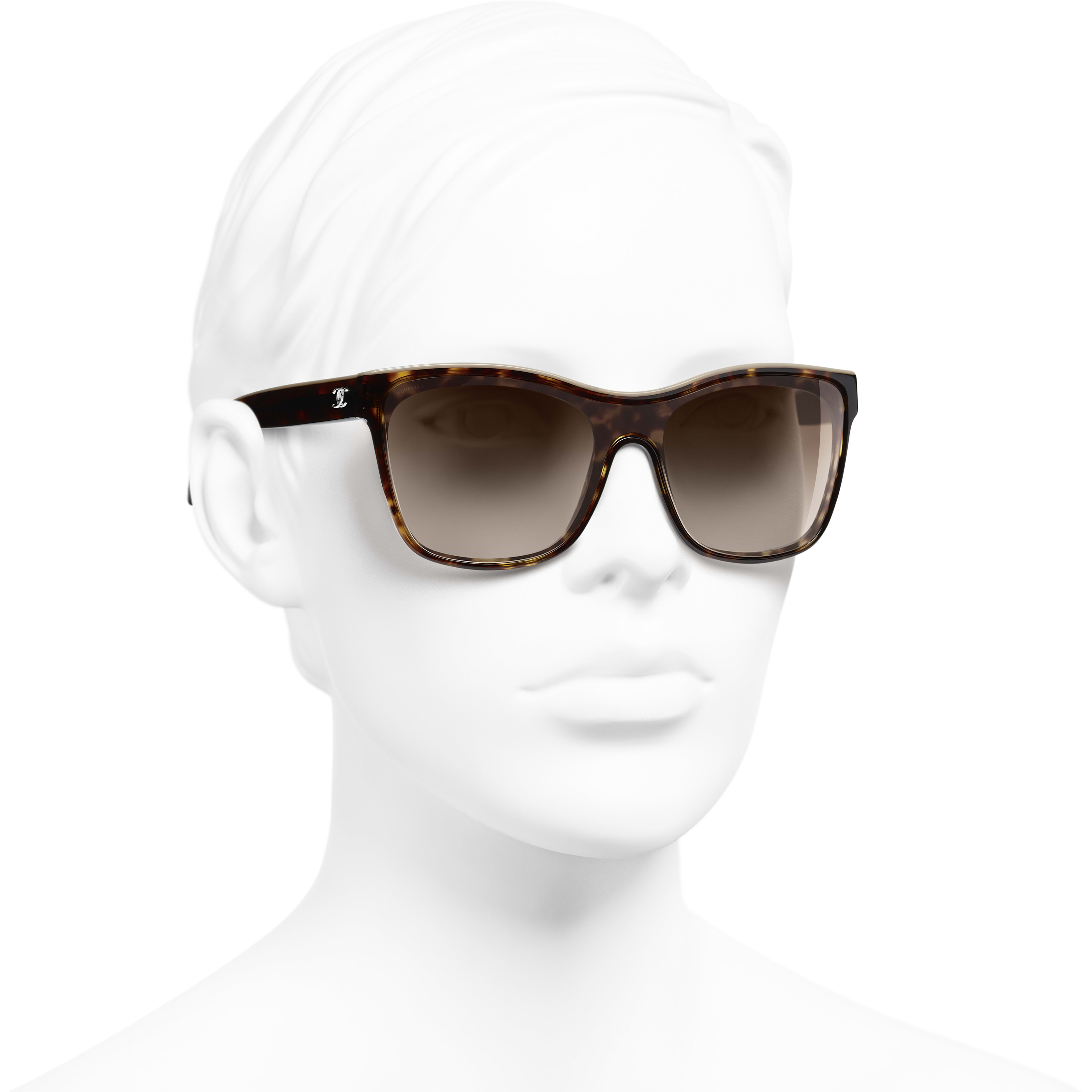 Shield Sunglasses - Dark Tortoise & Beige - Acetate - CHANEL - Worn 3/4 view - see standard sized version