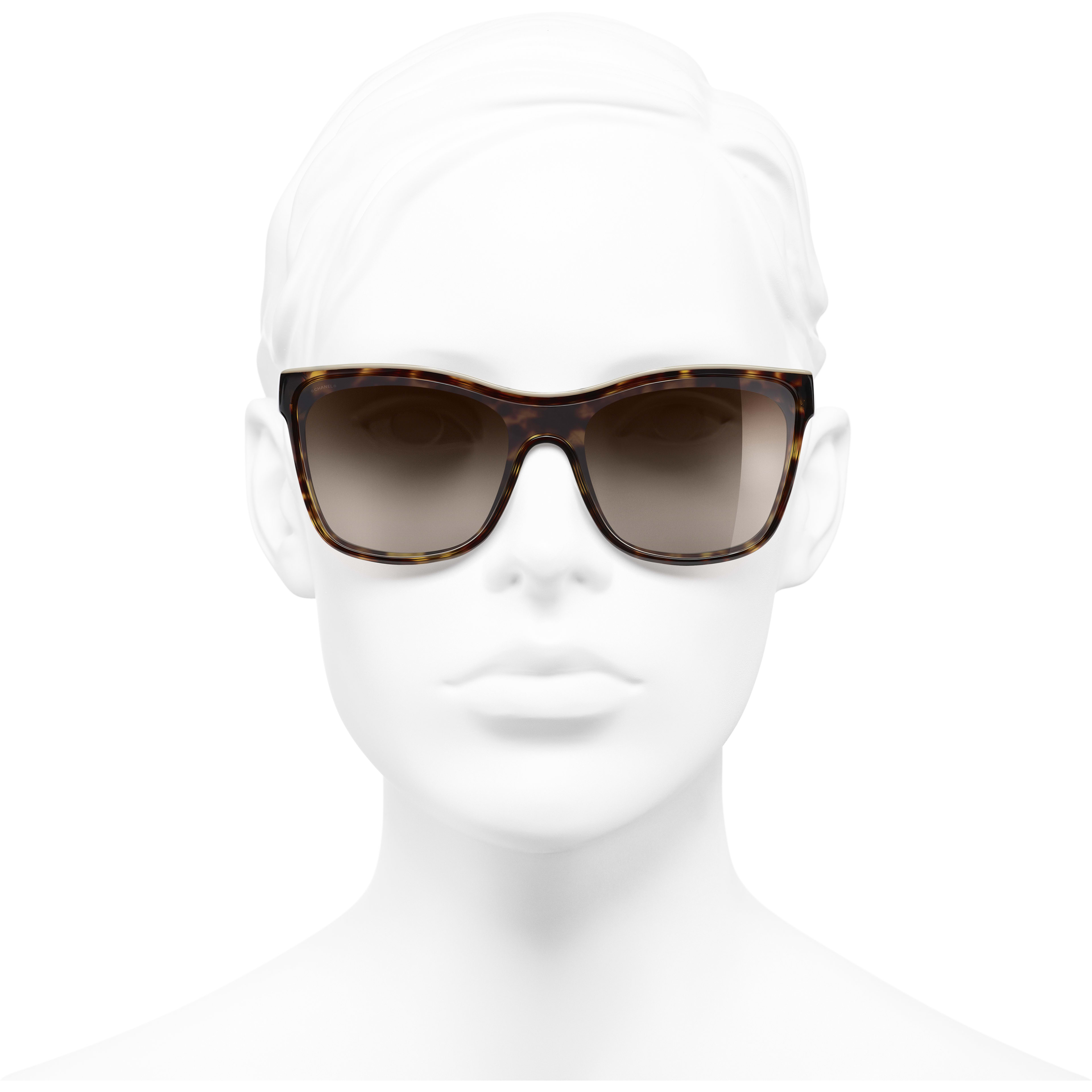 Shield Sunglasses - Dark Tortoise & Beige - Acetate - CHANEL - Worn front view - see standard sized version