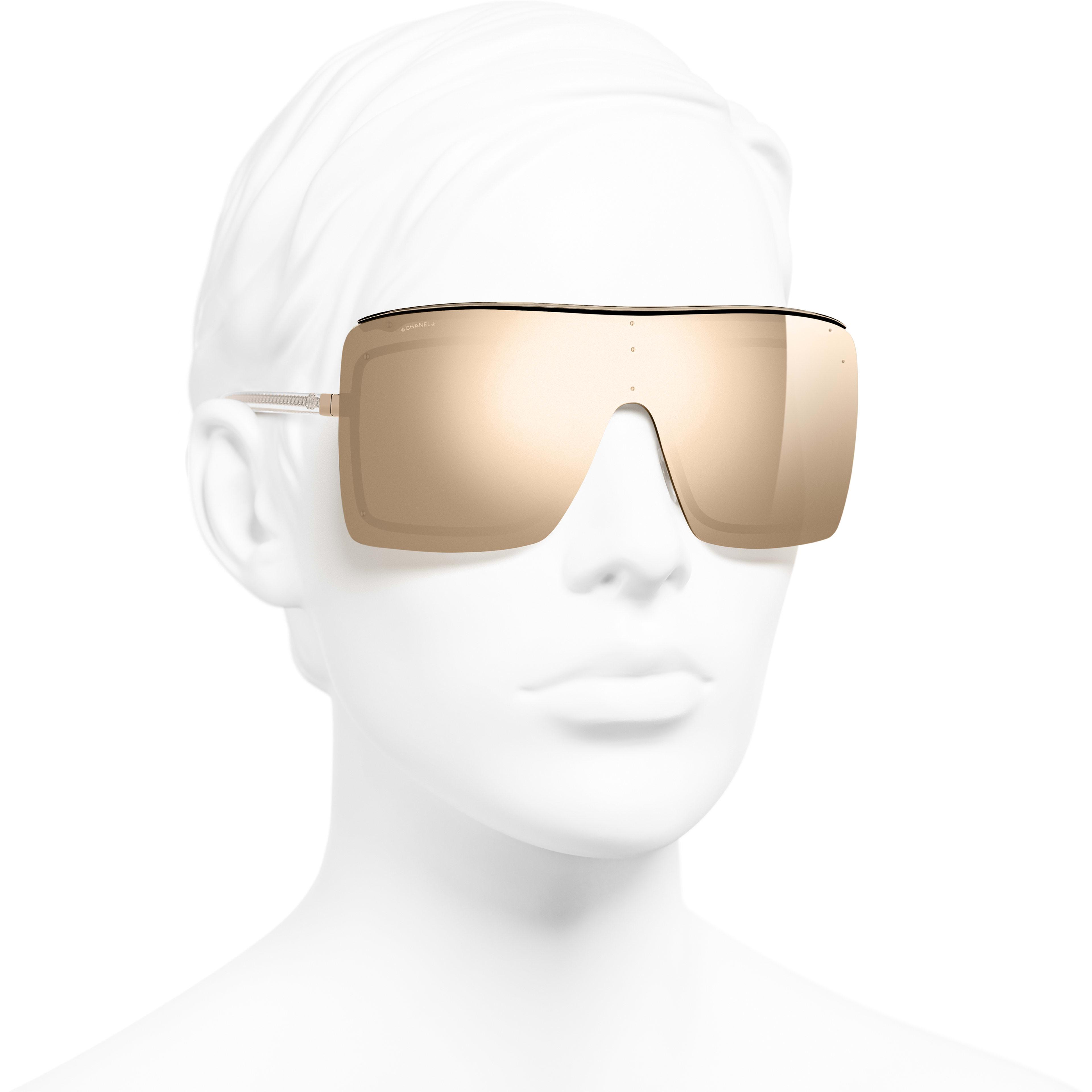 Shield Sunglasses - Gold - Metal - 18-Karat Gold Lenses - Worn 3/4 view - see standard sized version