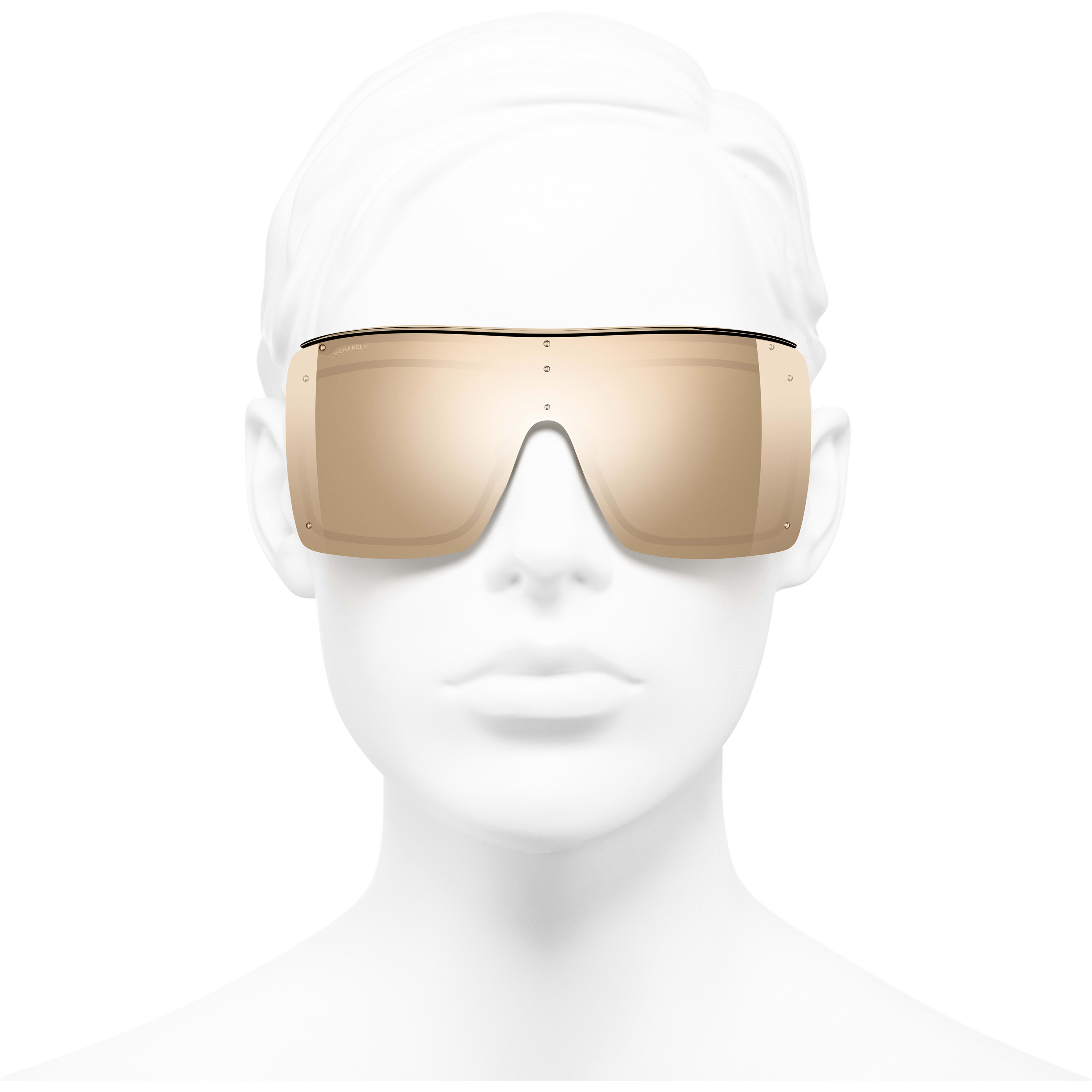 Shield Sunglasses - Gold - Metal - 18-Karat Gold Lenses - Worn front view - see standard sized version