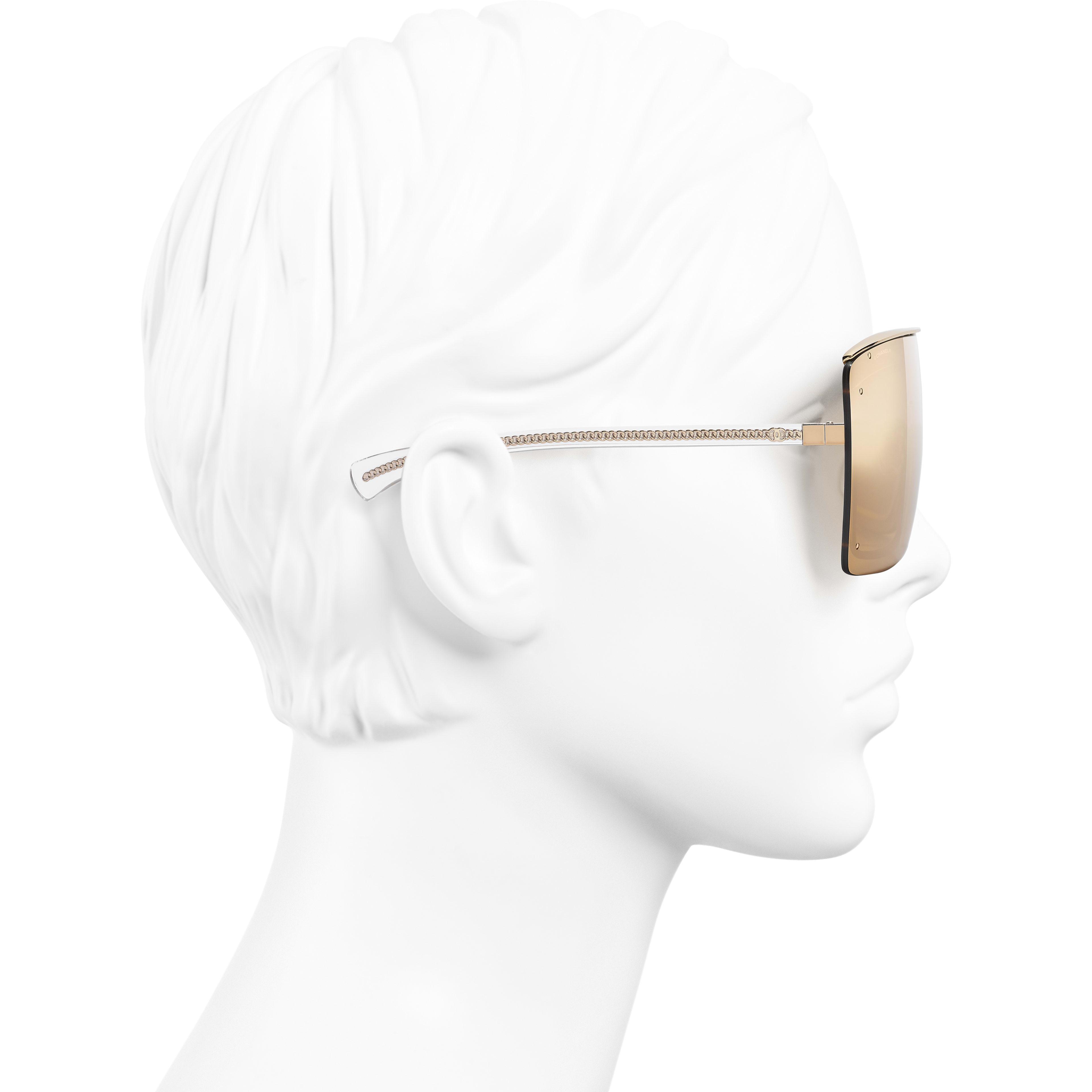 Shield Sunglasses - Gold - Metal - 18-Karat Gold Lenses - Worn side view - see standard sized version