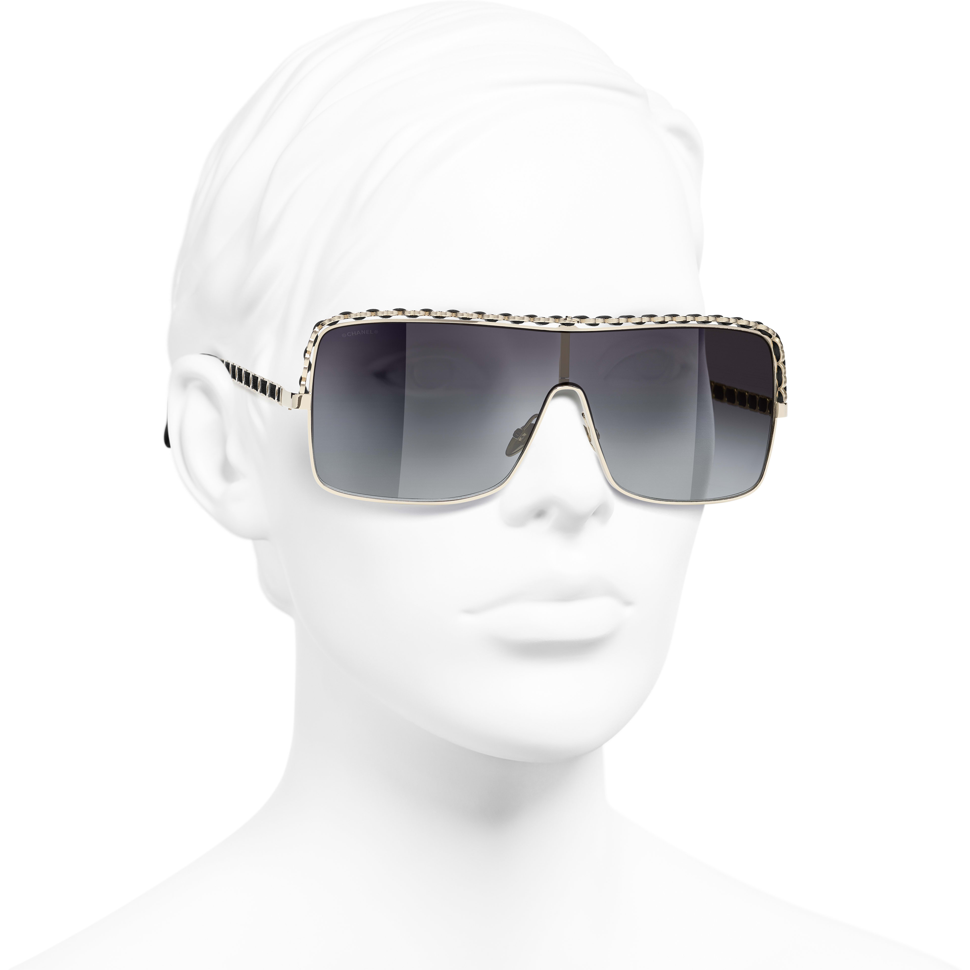 Shield Sunglasses - Gold - Metal & Calfskin - CHANEL - Worn 3/4 view - see standard sized version