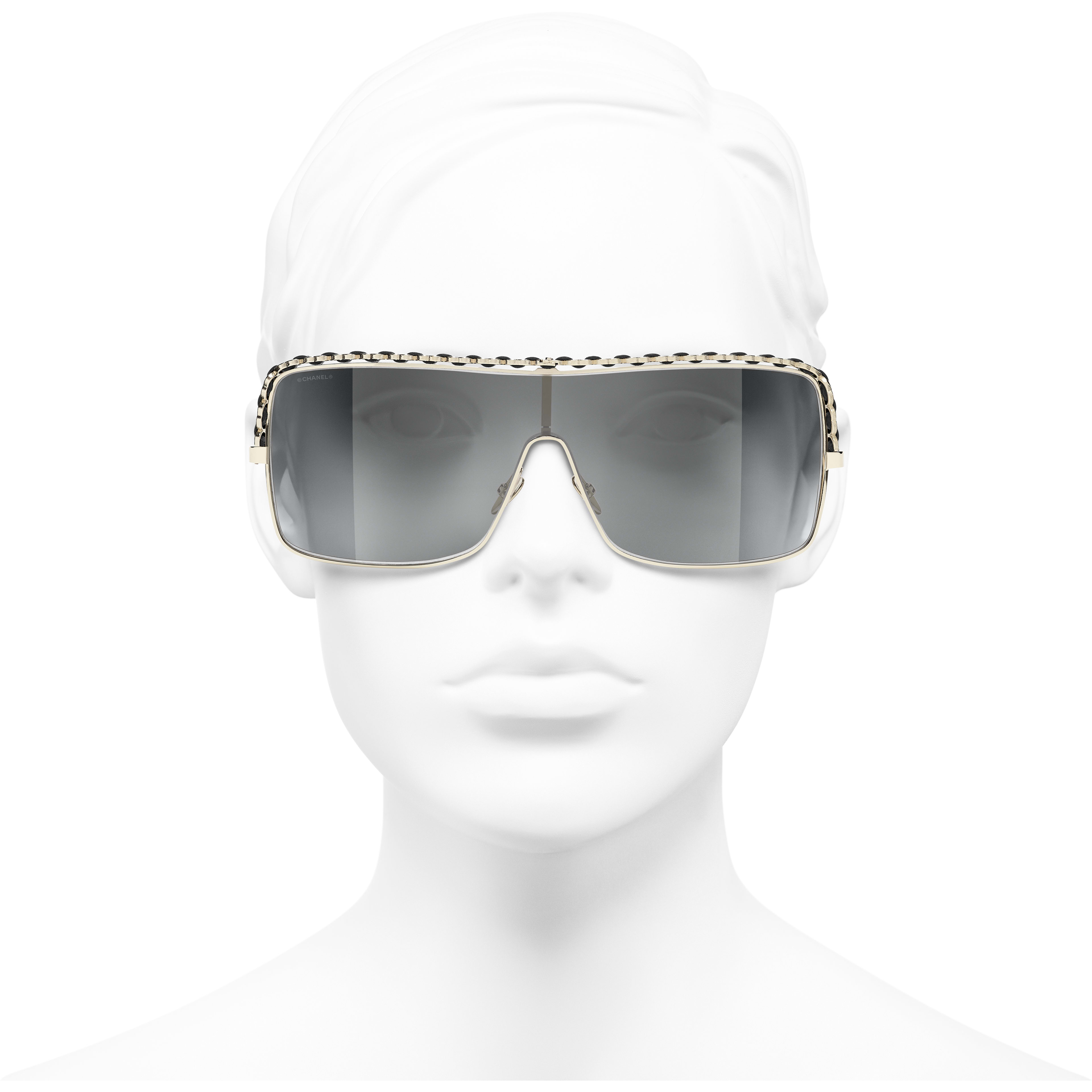 Shield Sunglasses - Gold - Metal & Calfskin - CHANEL - Worn front view - see standard sized version