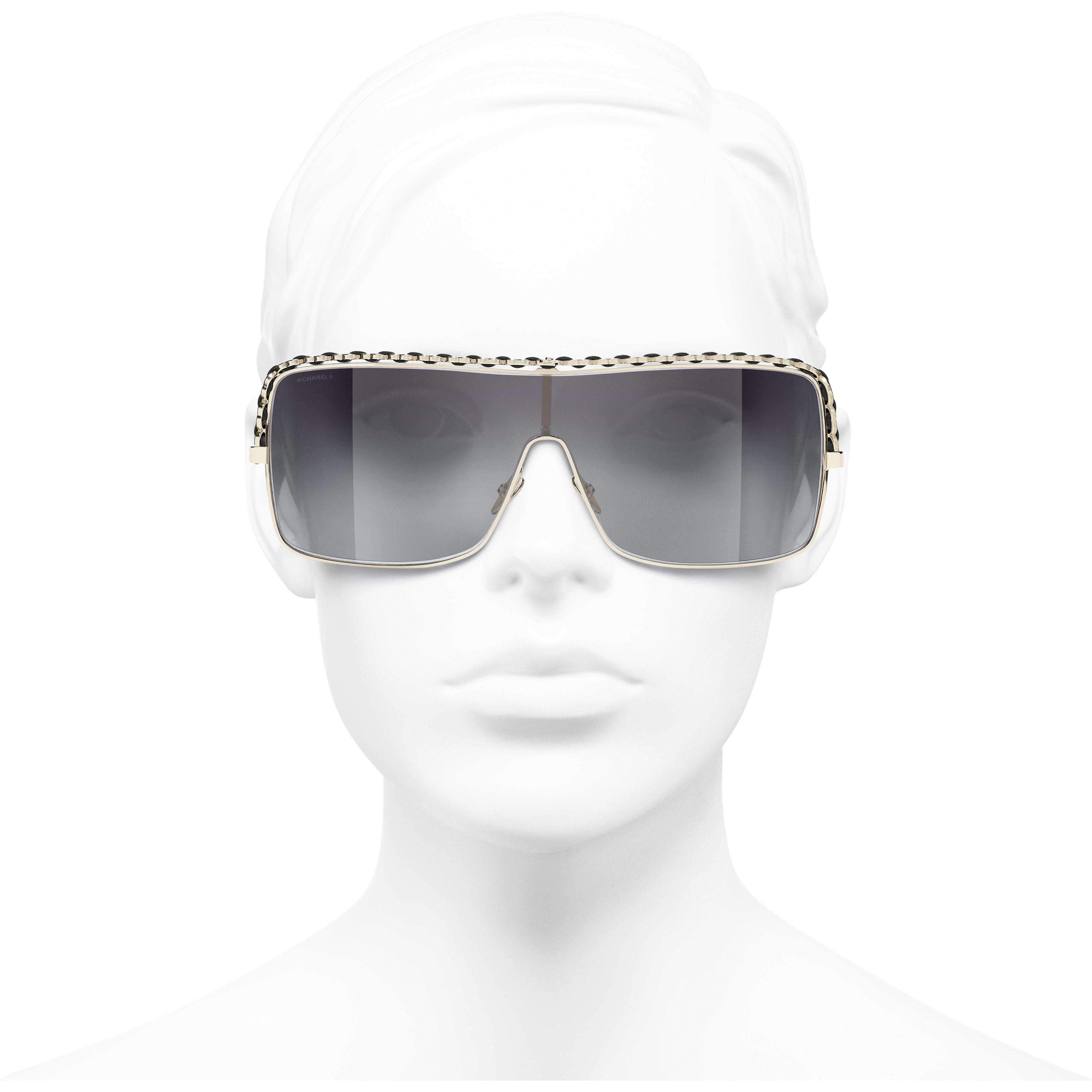 Umschließende Sonnenbrille - Goldfarben - Metall & Kalbsleder - CHANEL - Vorderansicht - Standardgröße anzeigen