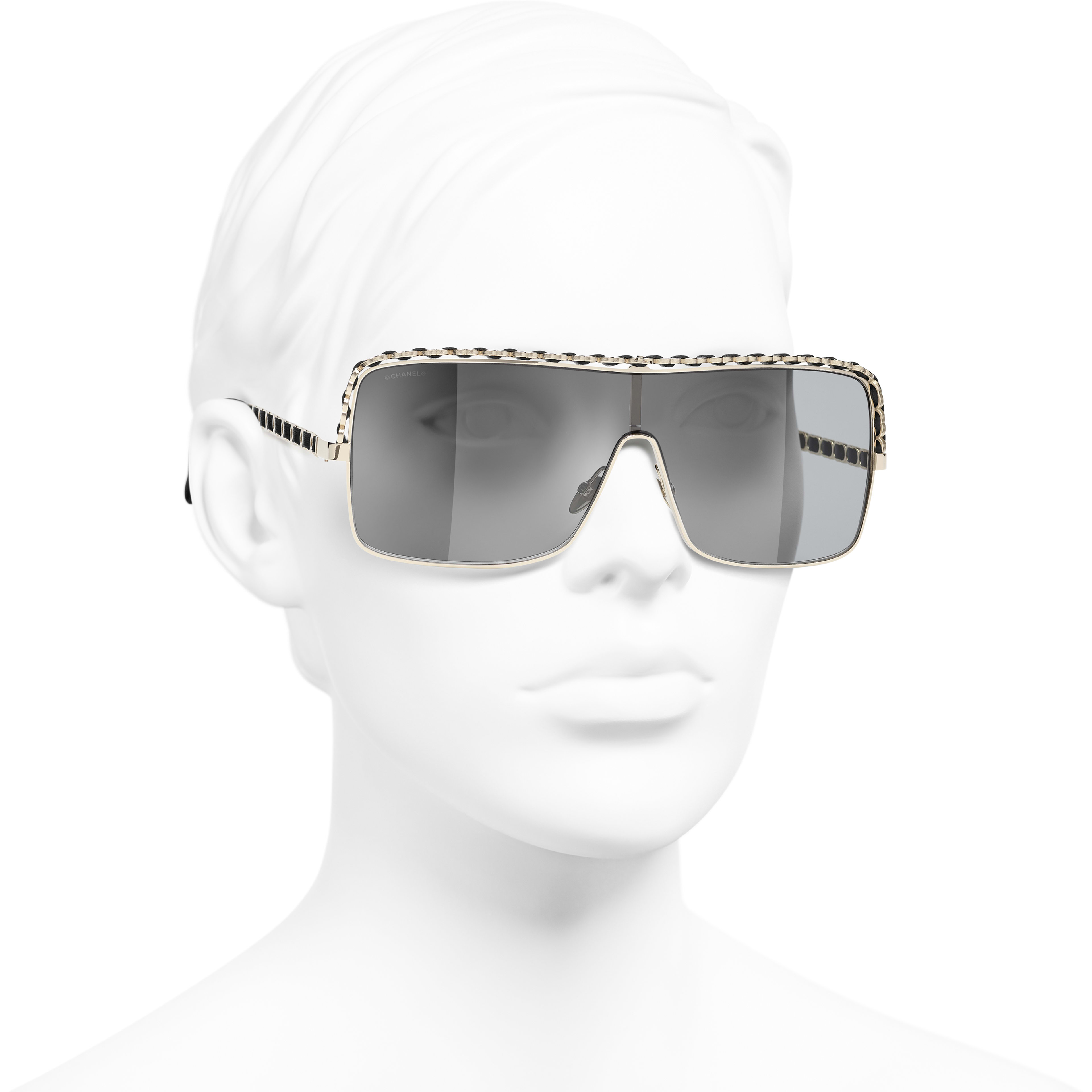 Gafas de sol montura ancha - Dorado - Metal y piel de cordero - CHANEL - Vista 3/4 puesto - ver la versión tamaño estándar