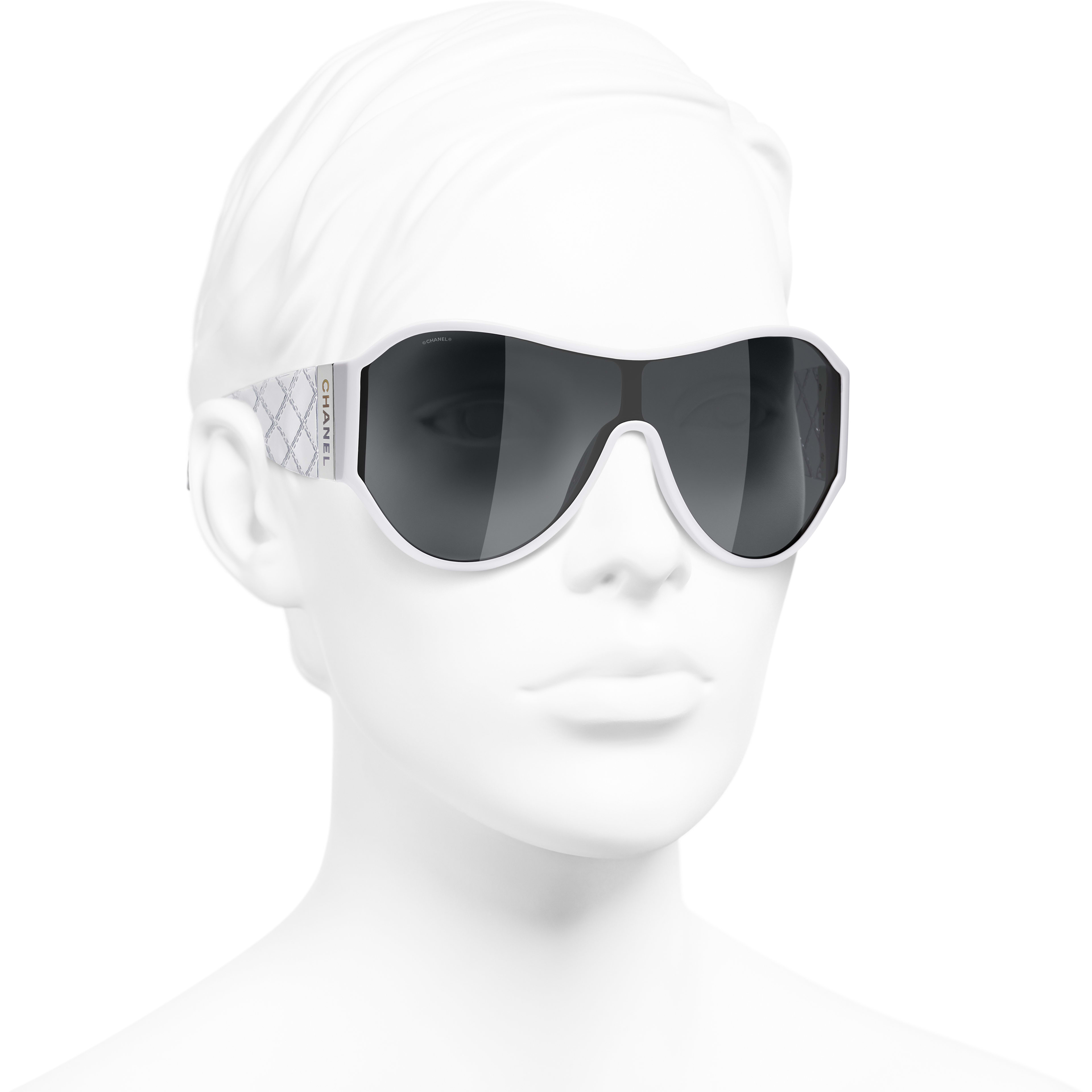 Shield Sunglasses - White - Acetate - Worn 3/4 view - see standard sized version