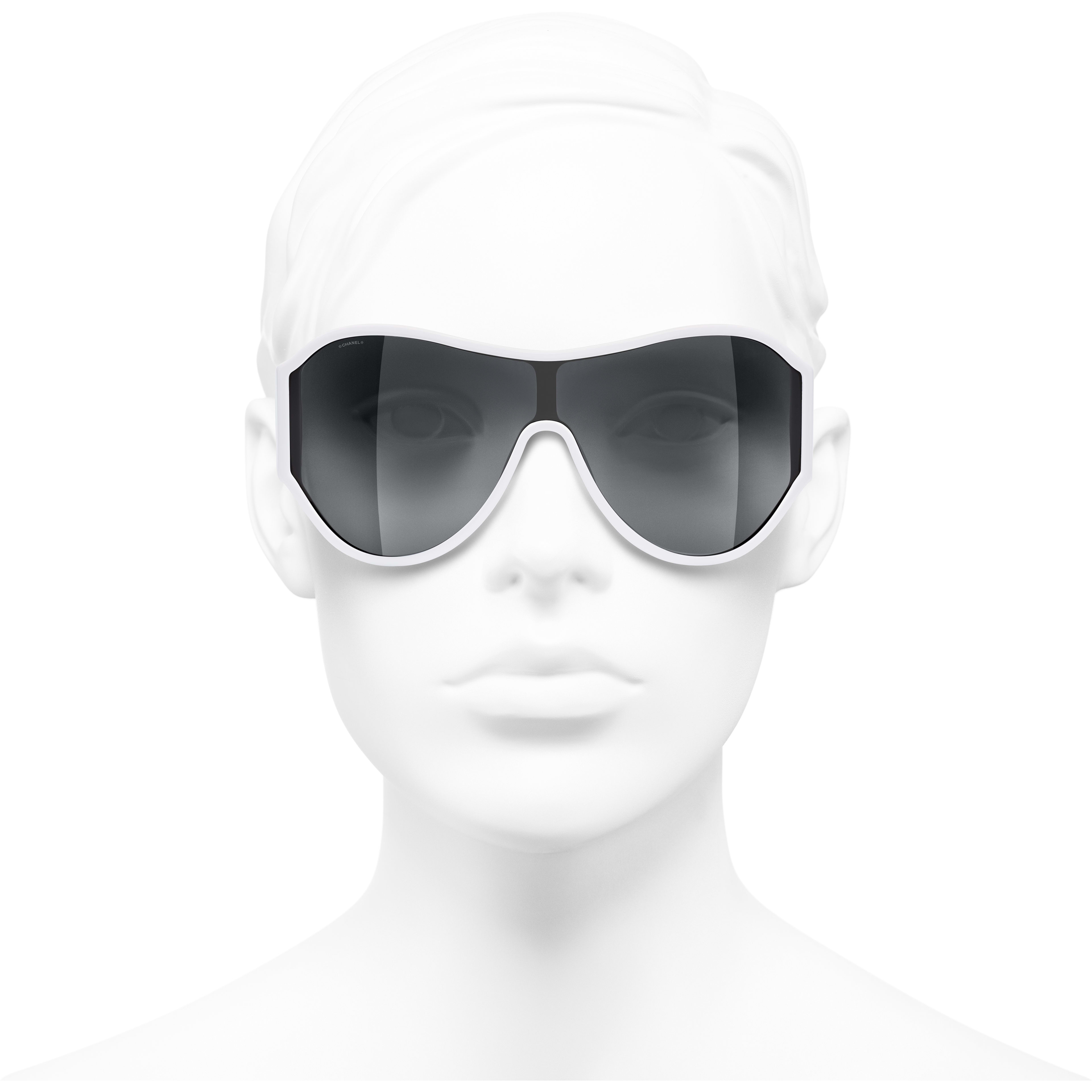 Shield Sunglasses - White - Acetate - Worn front view - see standard sized version