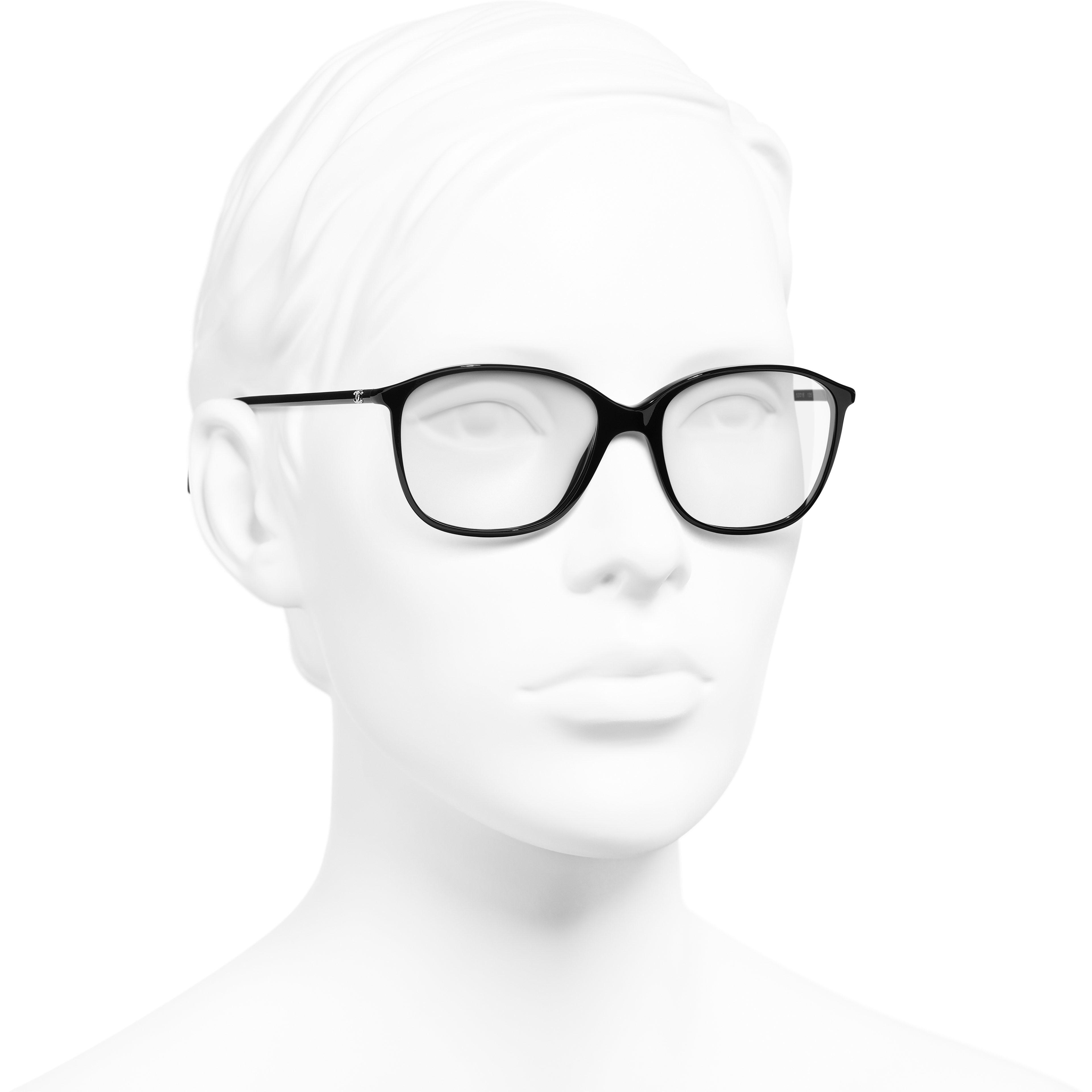 Square Eyeglasses - Black - Acetate - Worn 3/4 view - see standard sized version
