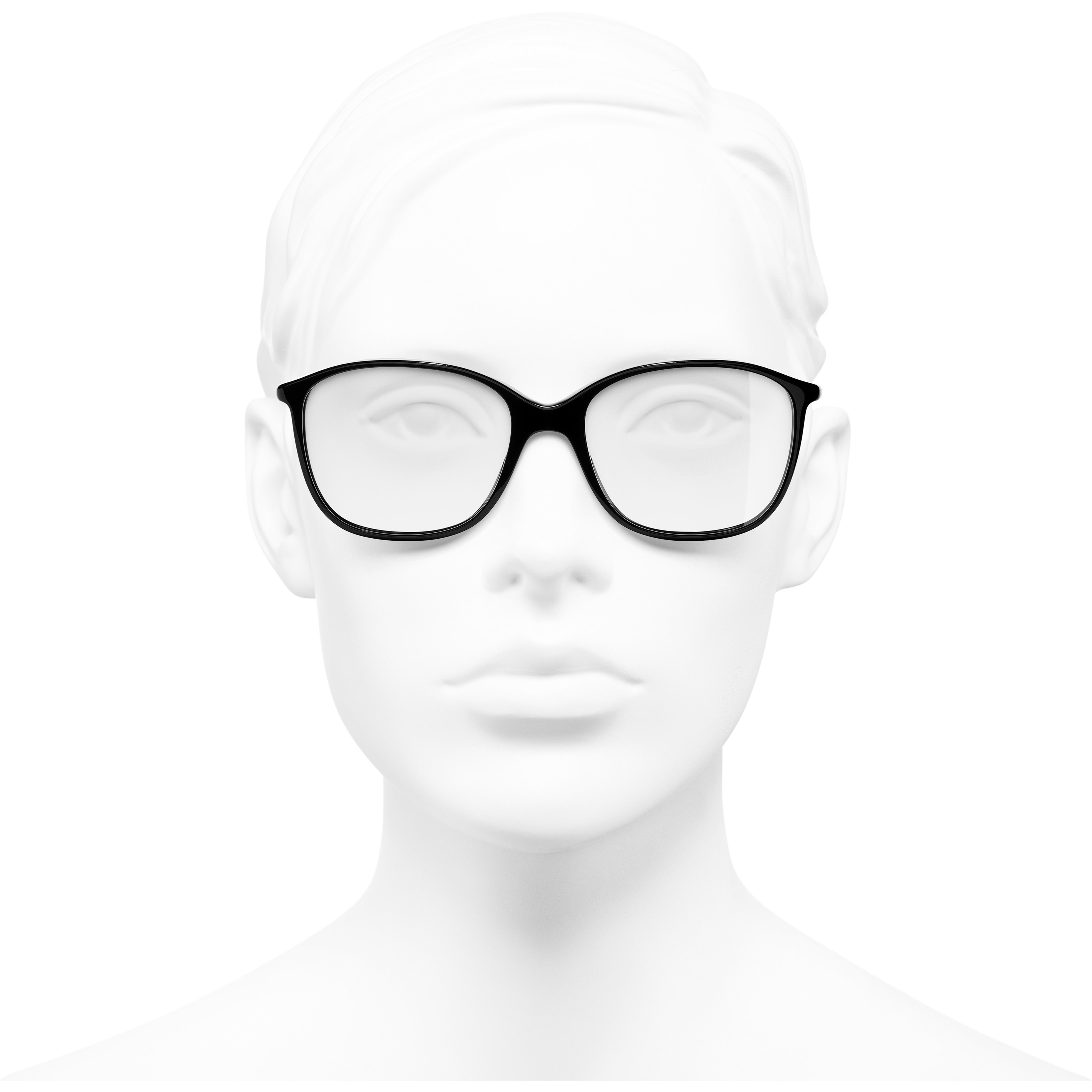 Square Eyeglasses - Black - Acetate - Worn front view - see standard sized version