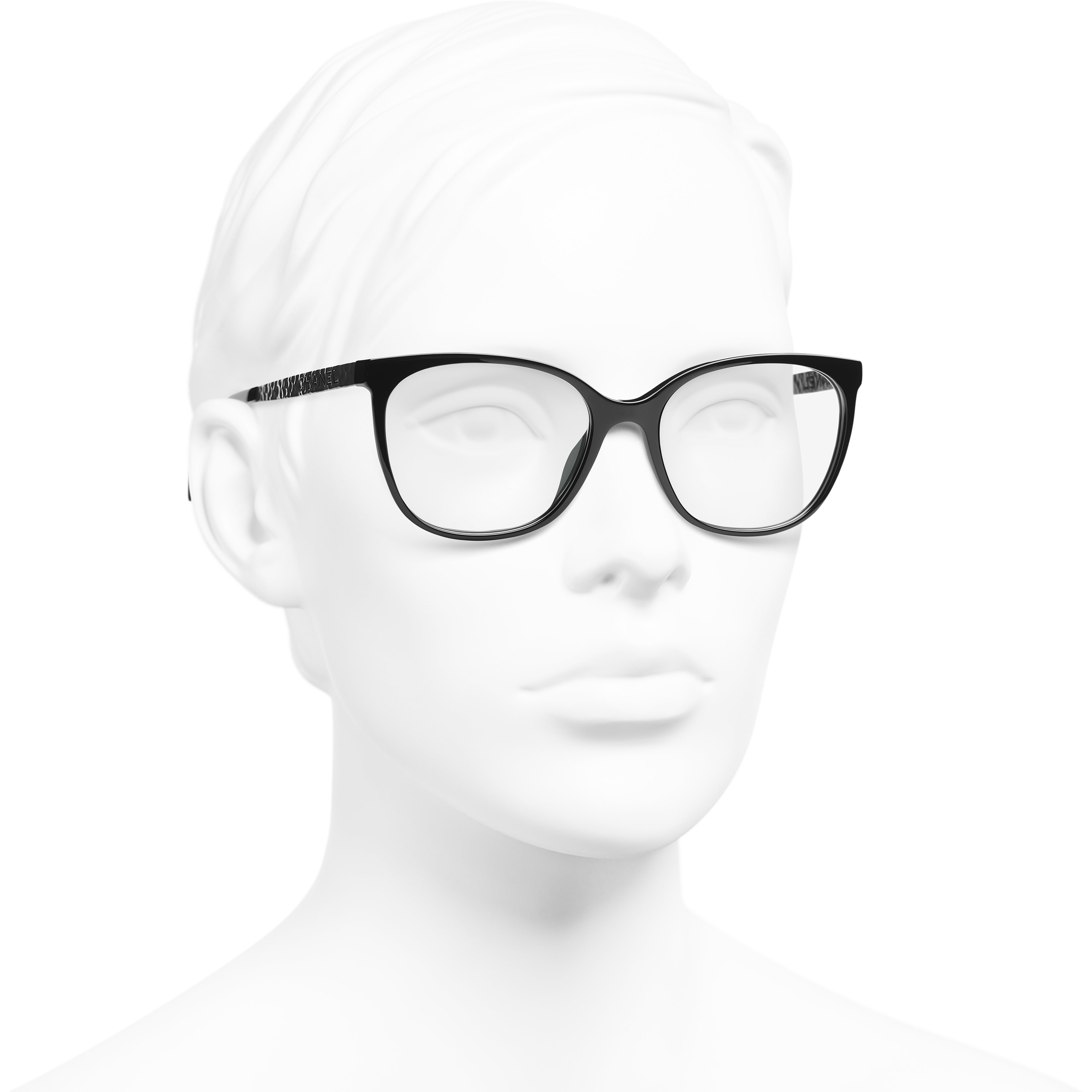 Square Eyeglasses - Black - Acetate & Metal - CHANEL - Worn 3/4 view - see standard sized version