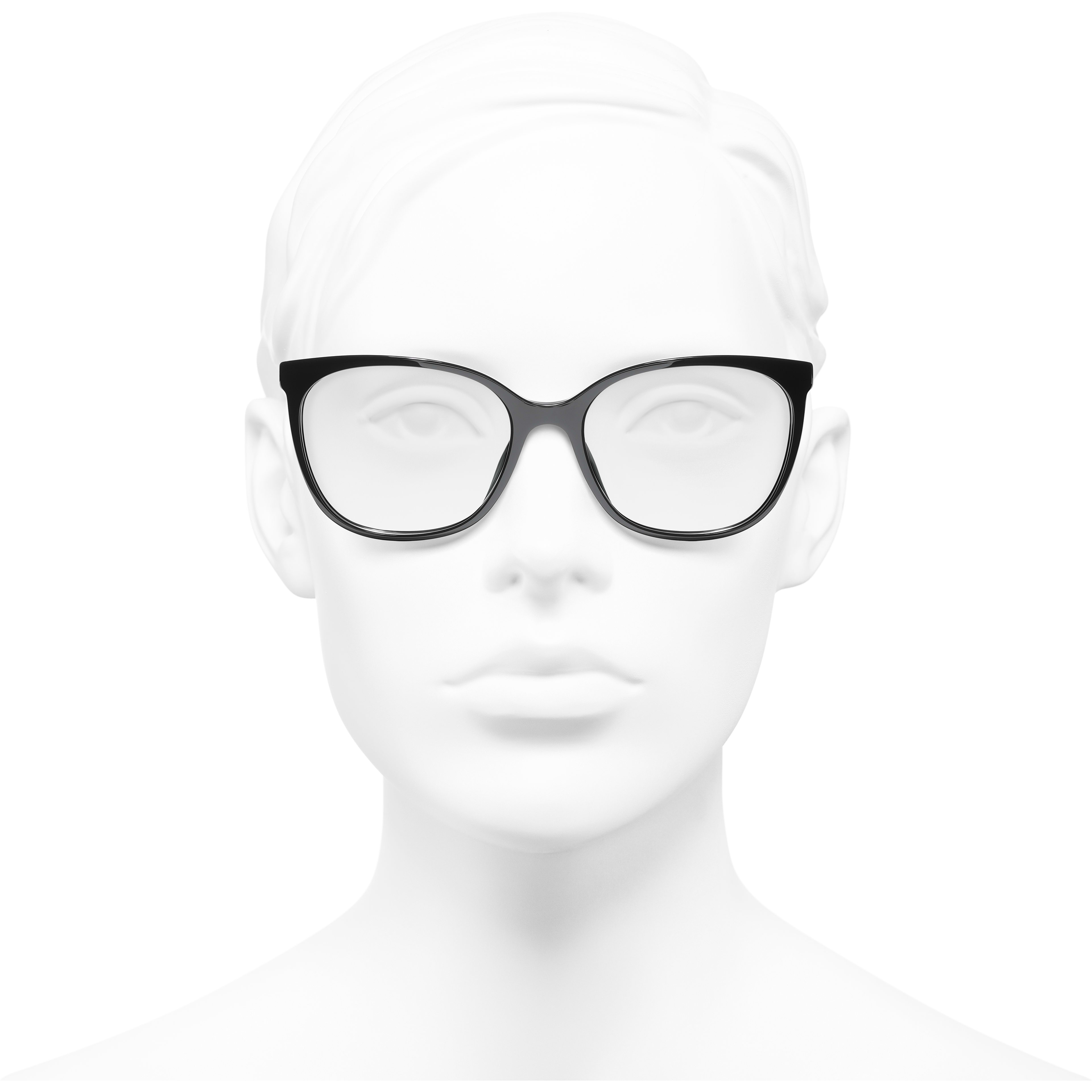 Square Eyeglasses - Black - Acetate & Metal - CHANEL - Worn front view - see standard sized version