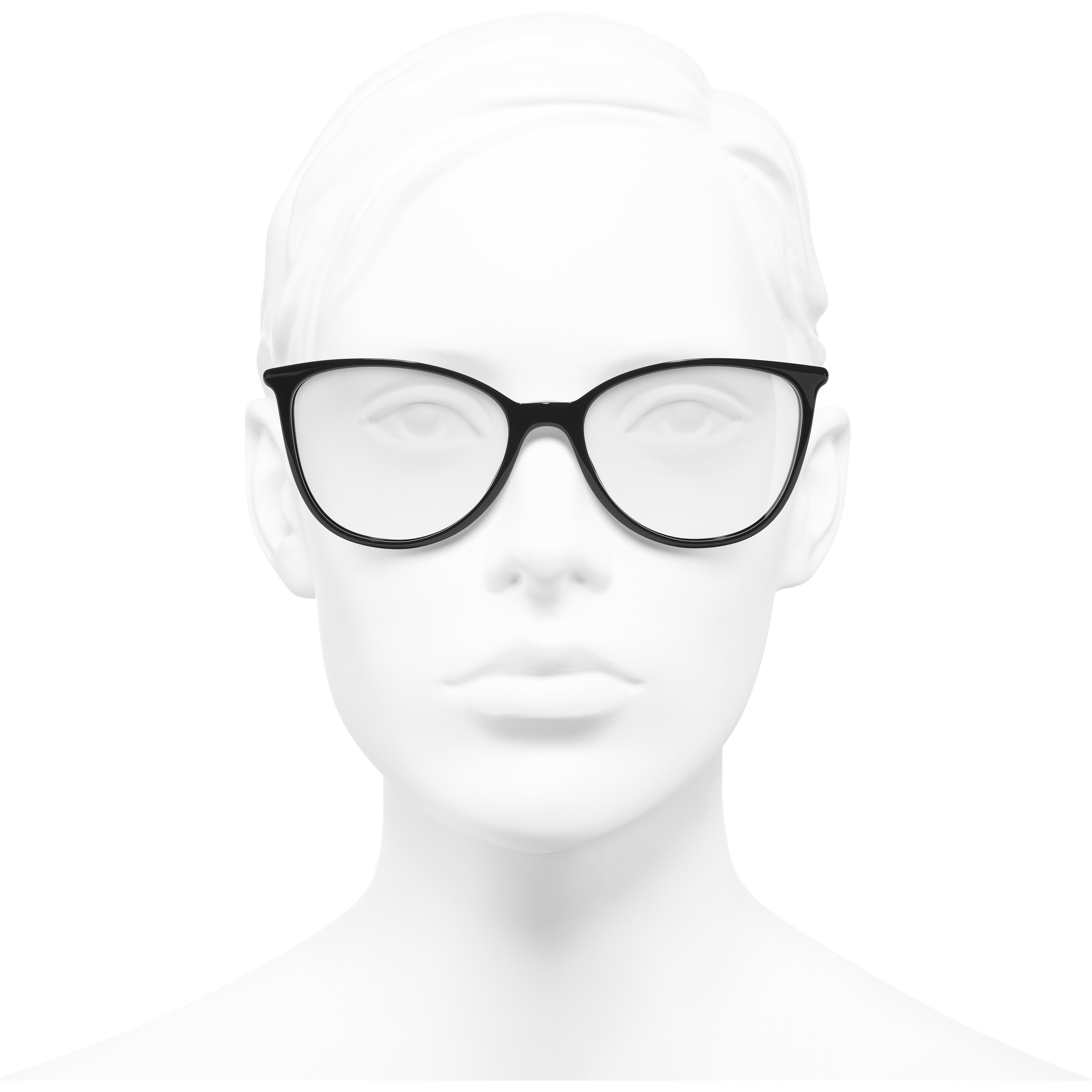 Square Eyeglasses - Black & White - Acetate - CHANEL - Worn front view - see standard sized version