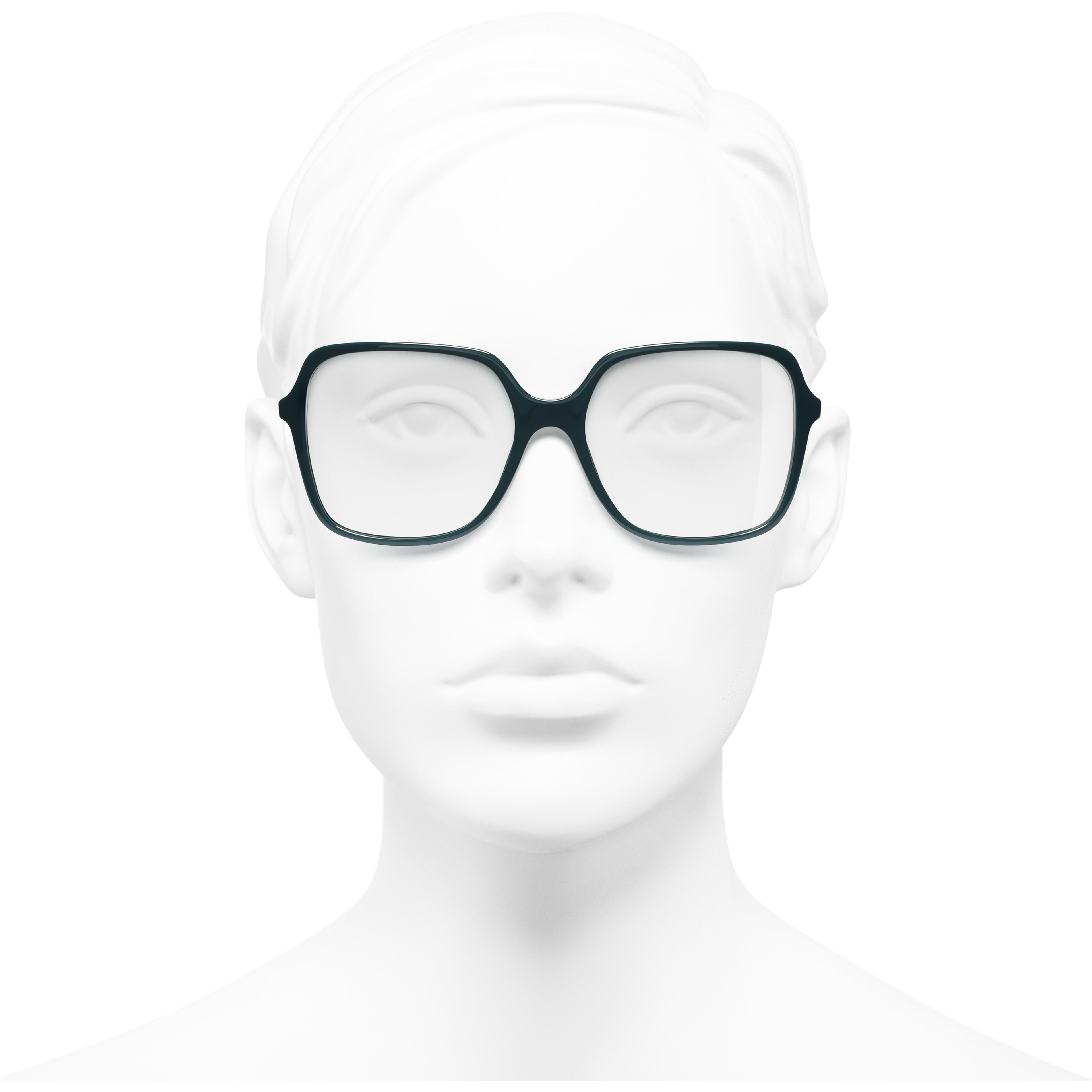 Square Eyeglasses - Dark Green - Acetate - Worn front view - see standard sized version