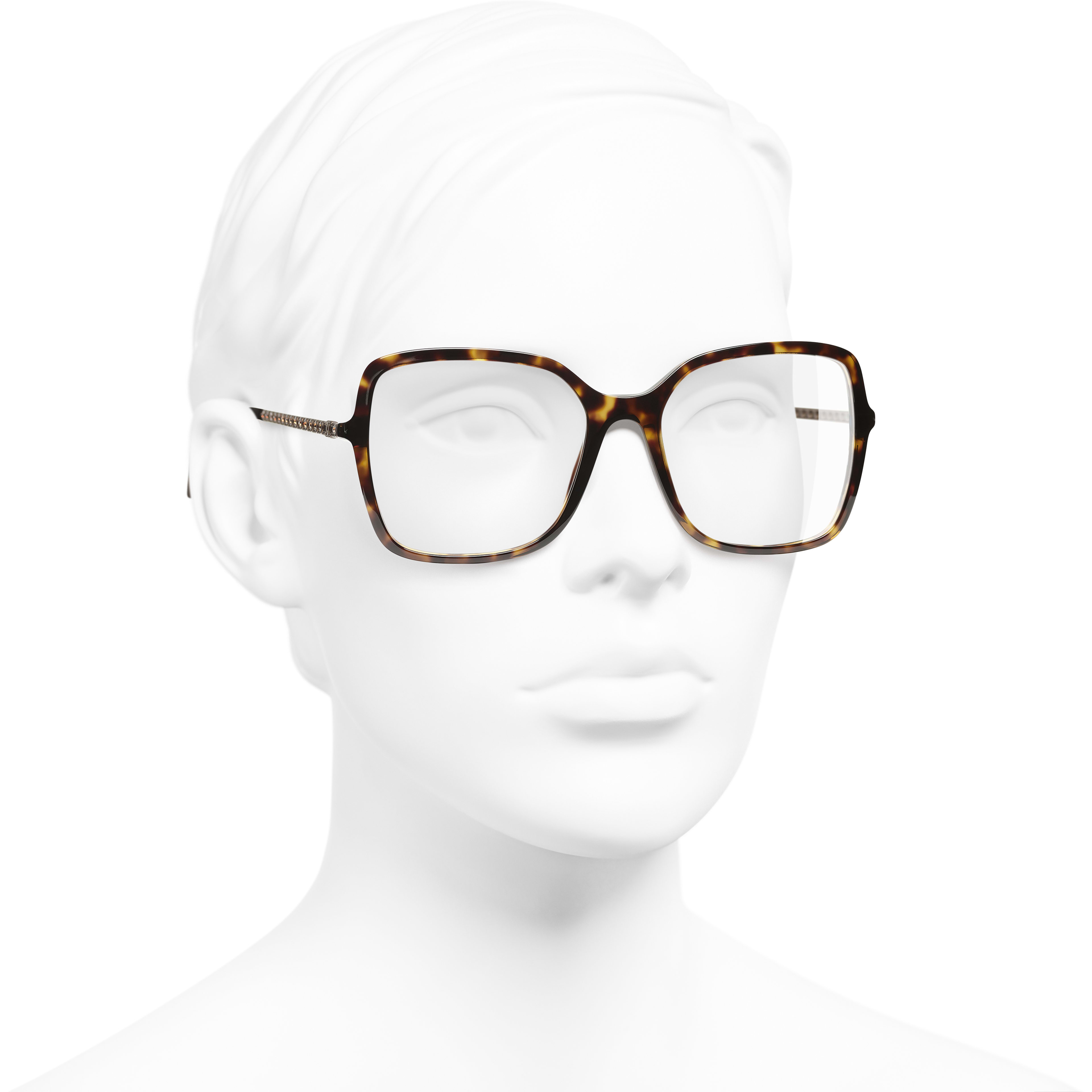 Square Eyeglasses - Dark Tortoise - Acetate & Diamanté - CHANEL - Worn 3/4 view - see standard sized version