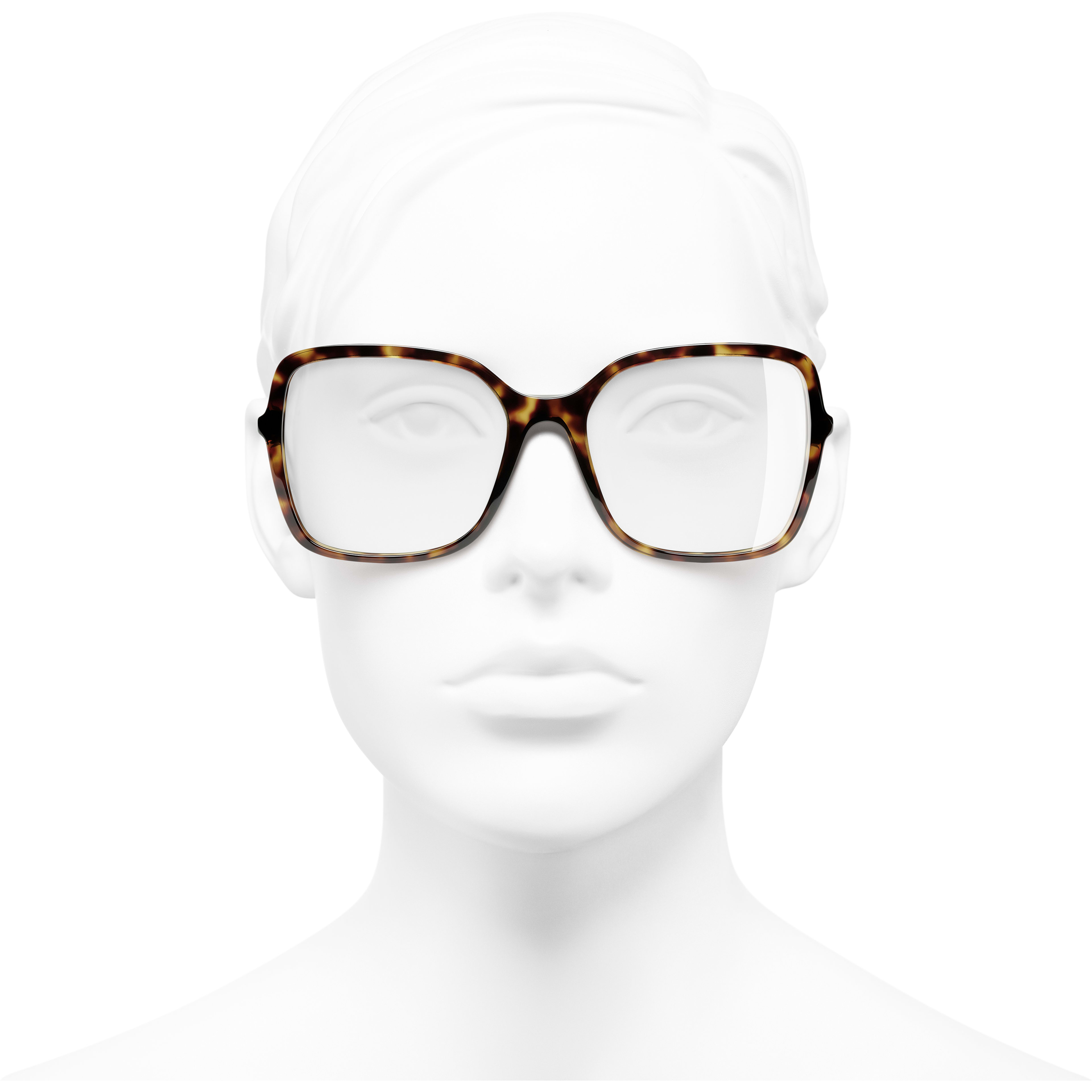 Square Eyeglasses - Dark Tortoise - Acetate & Diamanté - CHANEL - Worn front view - see standard sized version