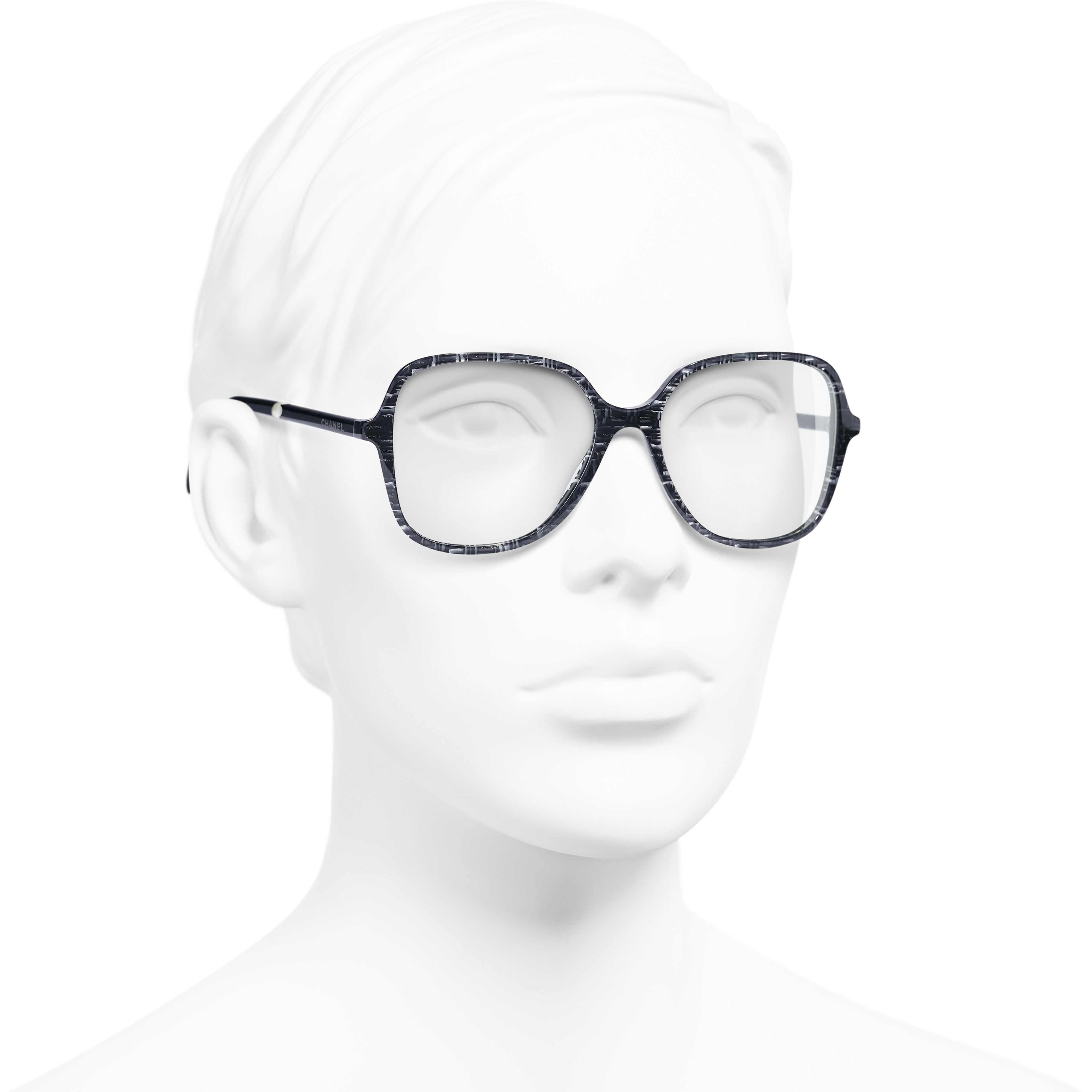 Square Eyeglasses - Glittered Dark Blue - Acetate & Imitation Pearls - Worn 3/4 view - see standard sized version