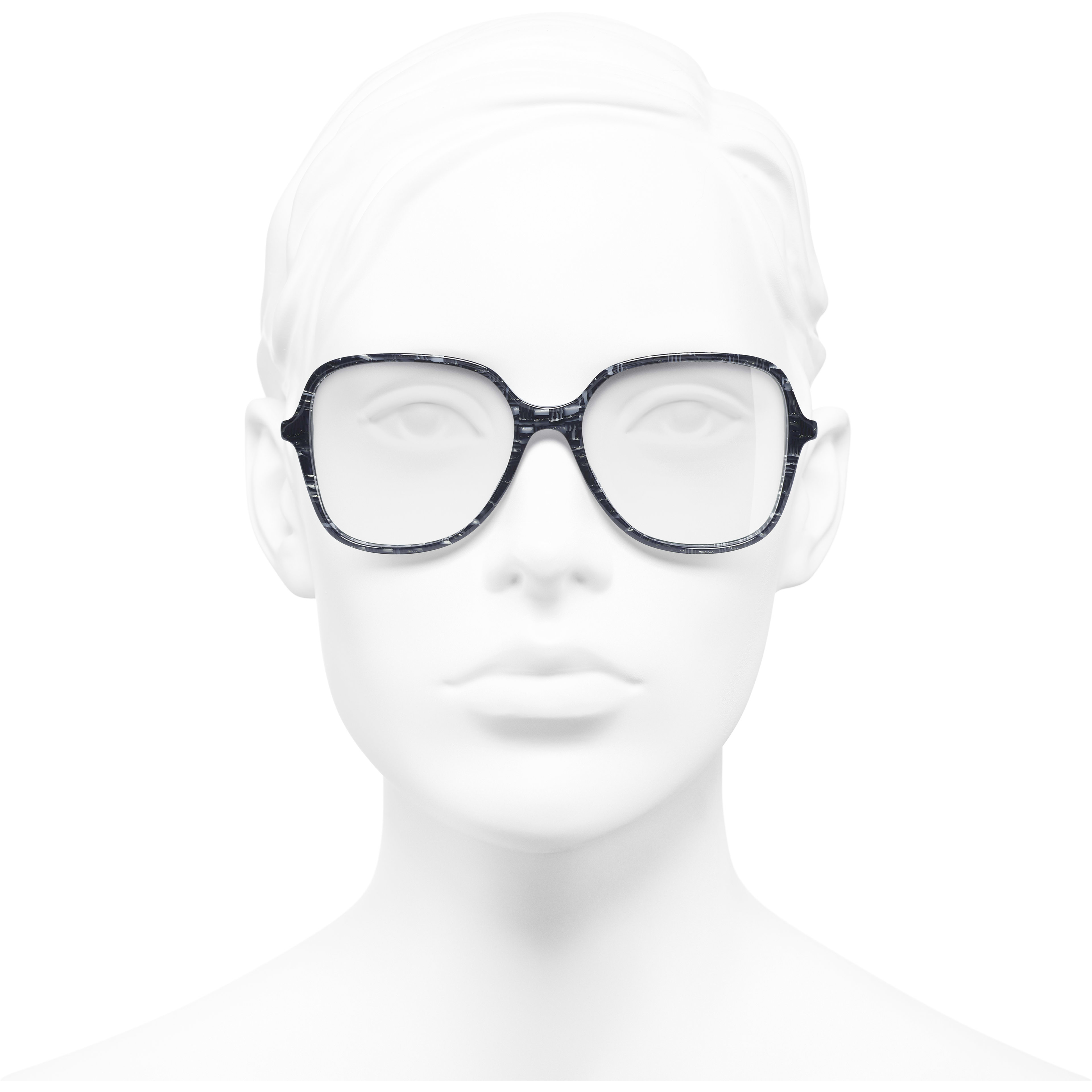 Square Eyeglasses - Glittered Dark Blue - Acetate & Imitation Pearls - Worn front view - see standard sized version