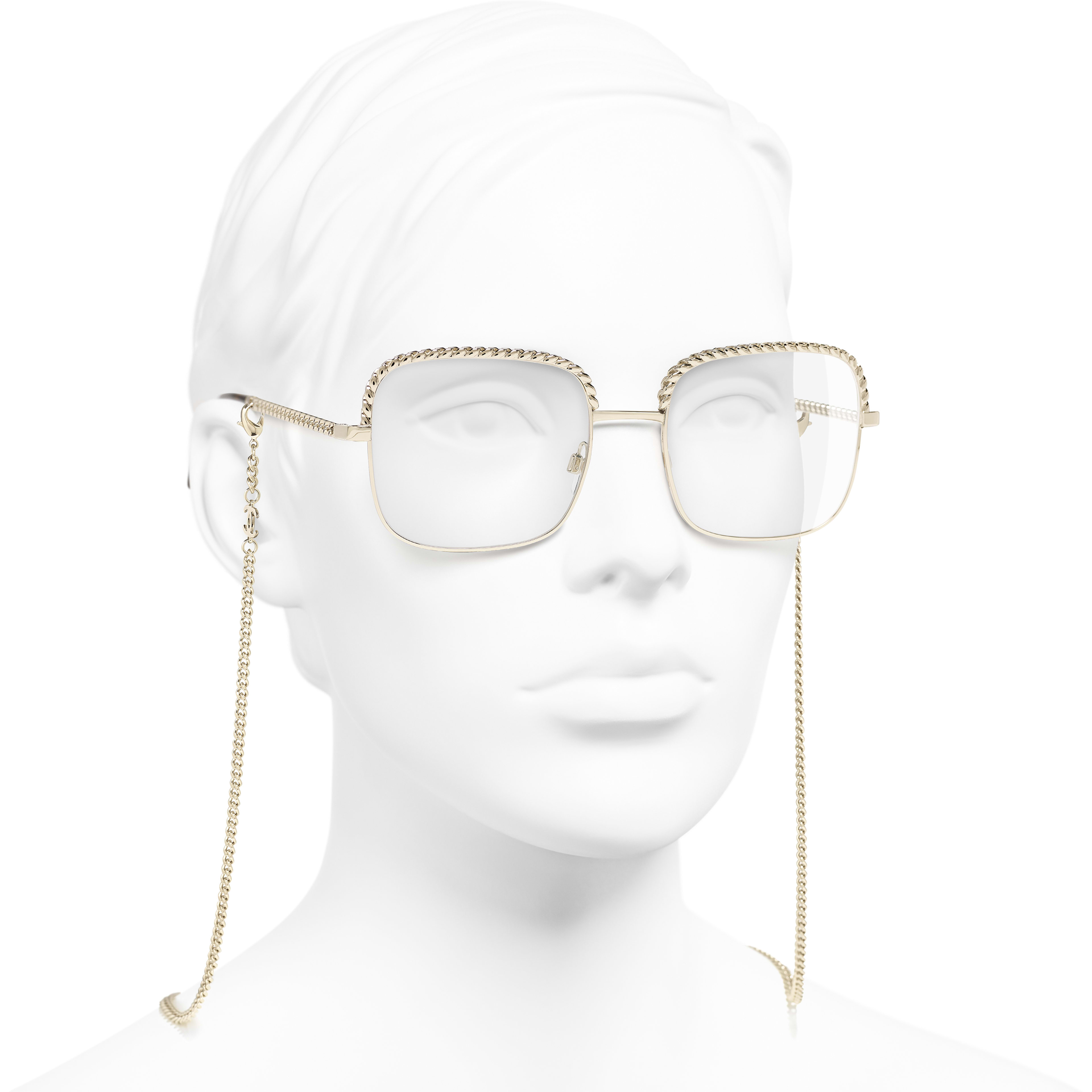 Square Eyeglasses - Gold - Metal - Worn 3/4 view - see standard sized version