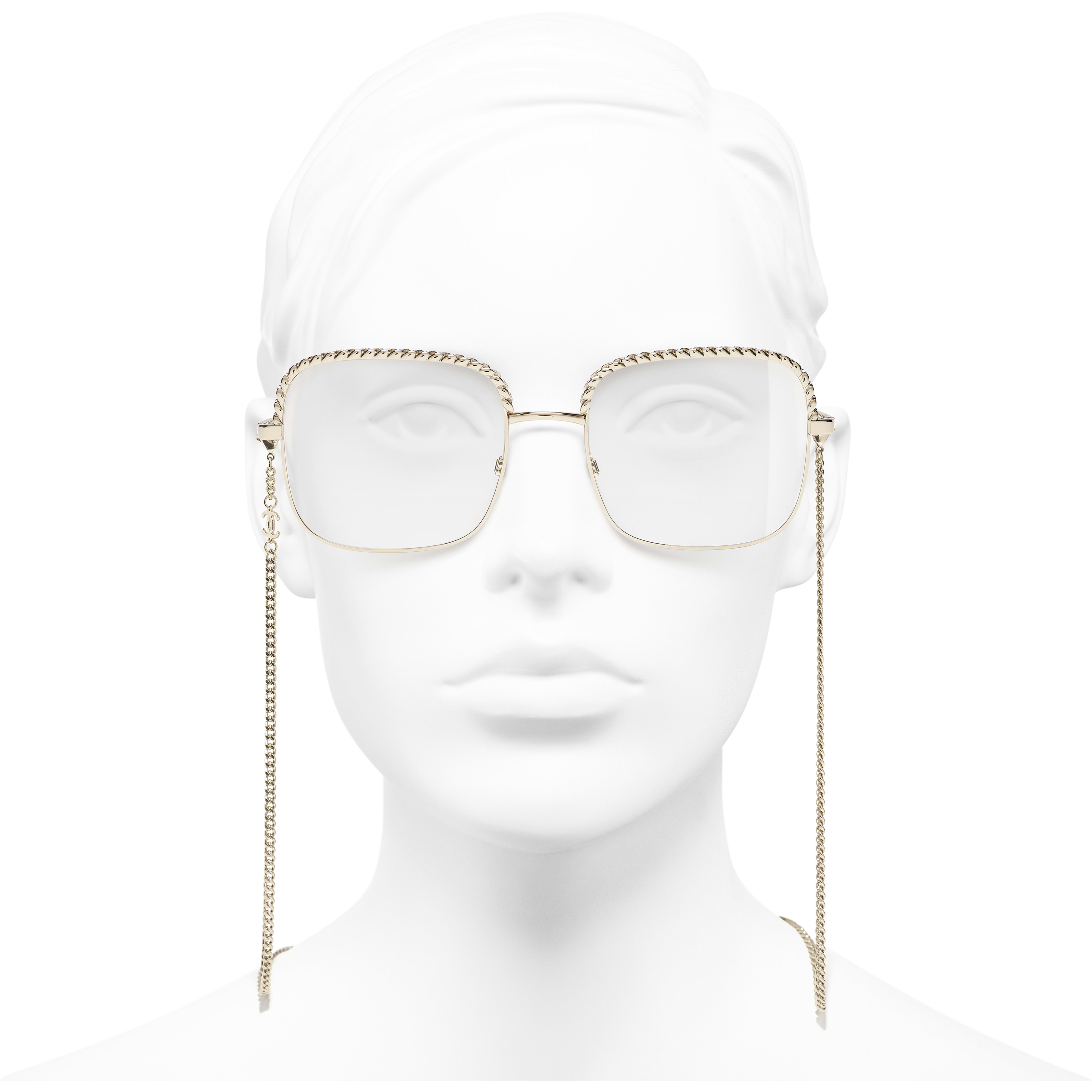 Square Eyeglasses - Gold - Metal - Worn front view - see standard sized version