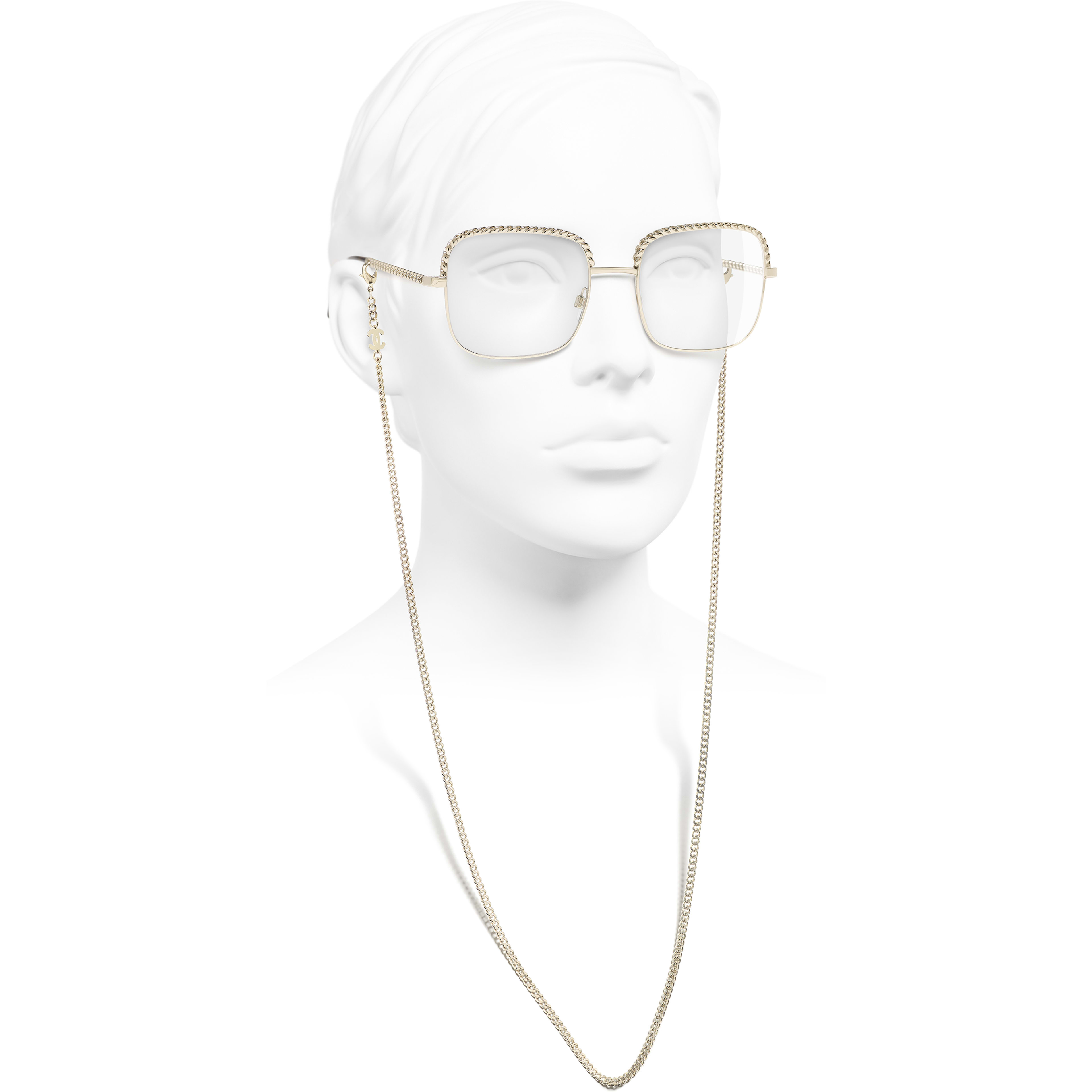 Square Eyeglasses - Gold - Metal - Worn side view - see standard sized version