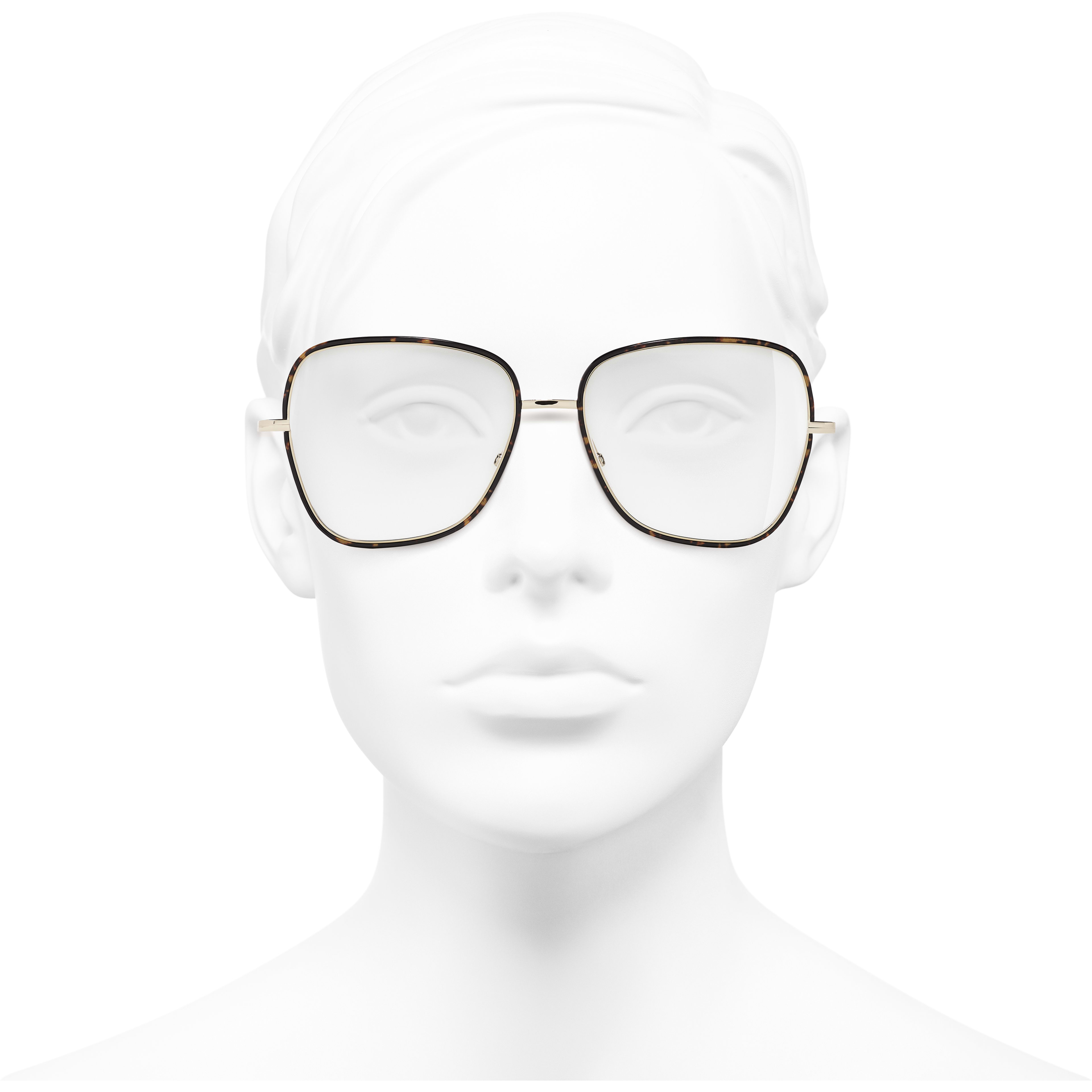 Square Eyeglasses - Metal - CHANEL - Worn front view - see standard sized version