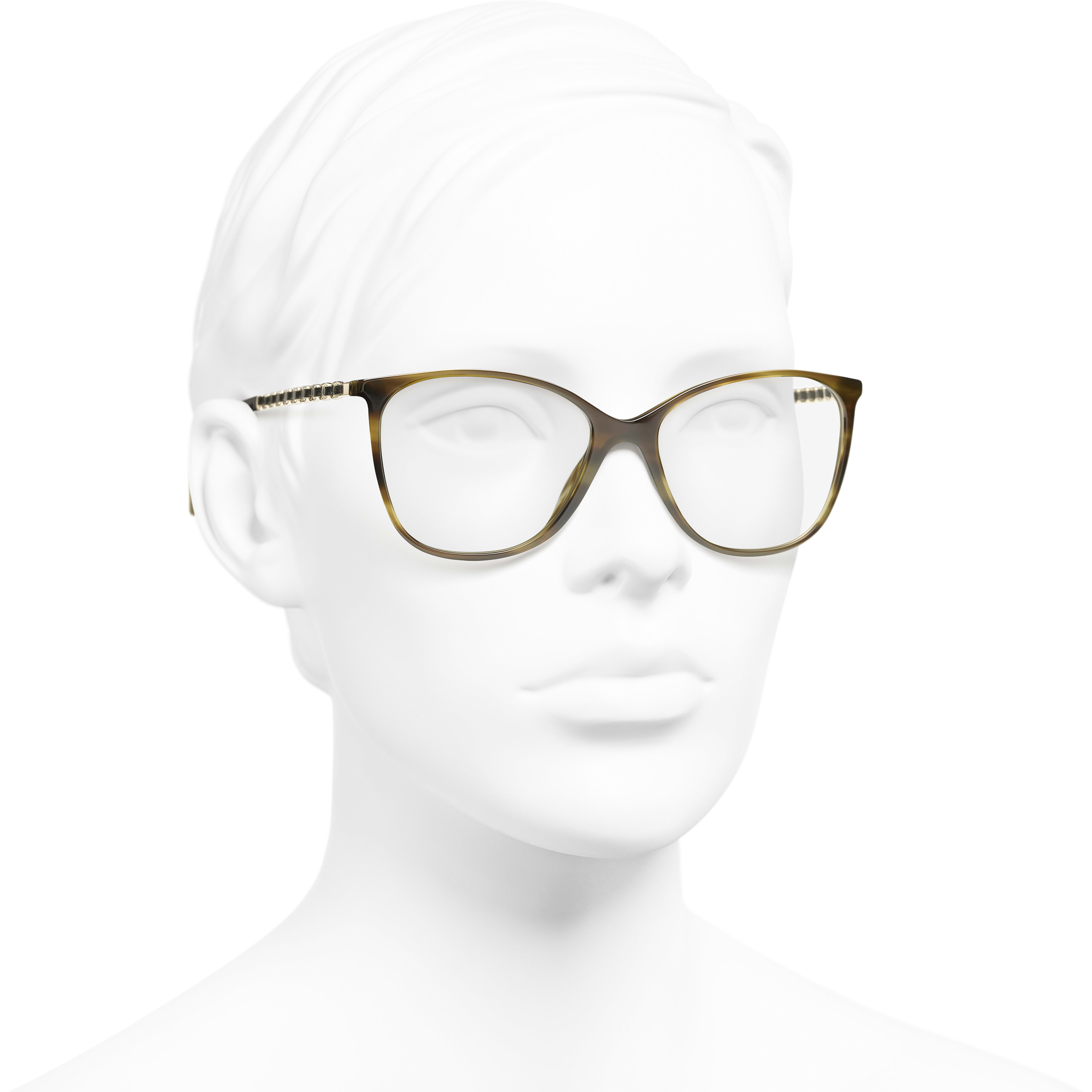 Square Eyeglasses - Green Tortoise - Metal & Lambskin - CHANEL - Worn 3/4 view - see standard sized version