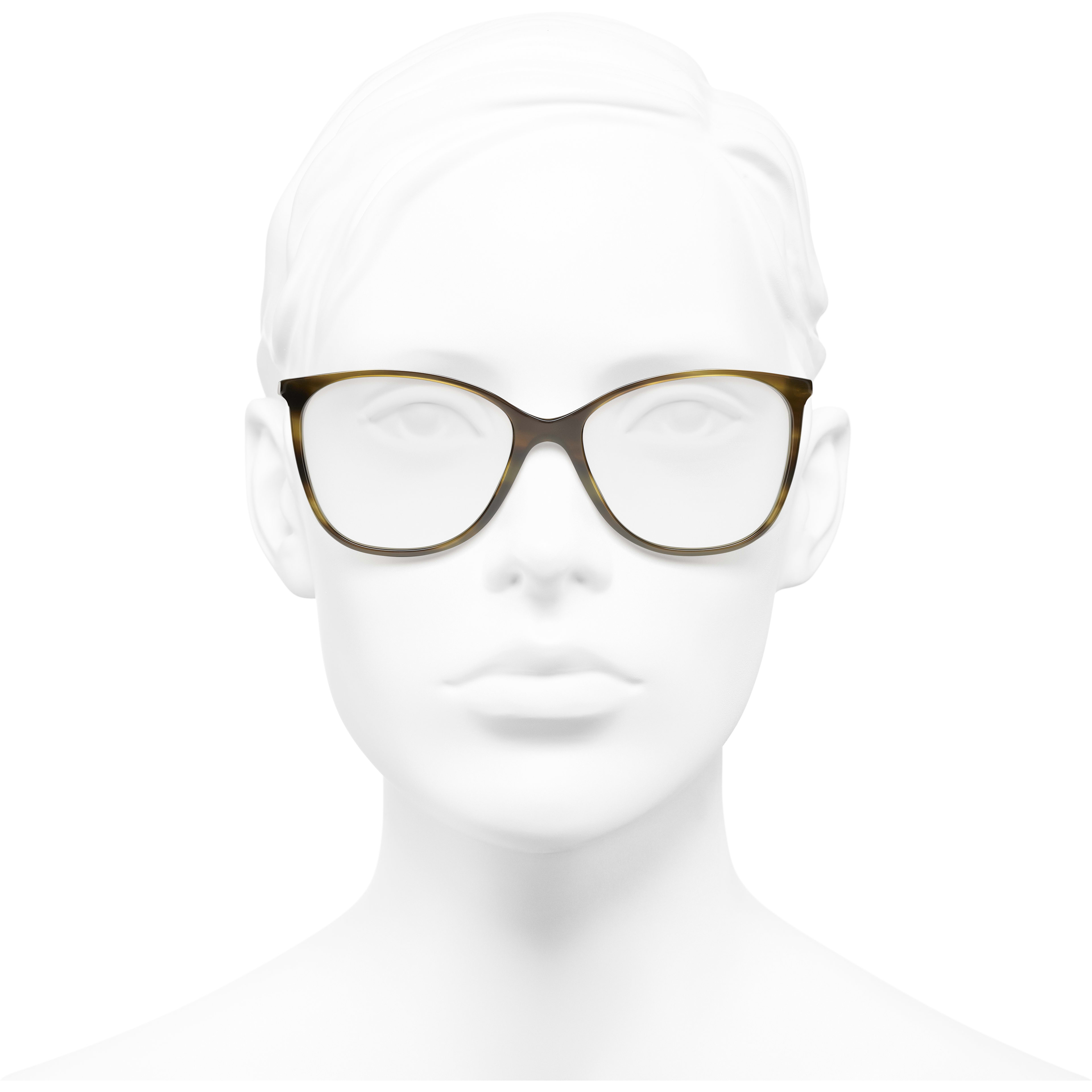 Square Eyeglasses - Green Tortoise - Metal & Lambskin - CHANEL - Worn front view - see standard sized version