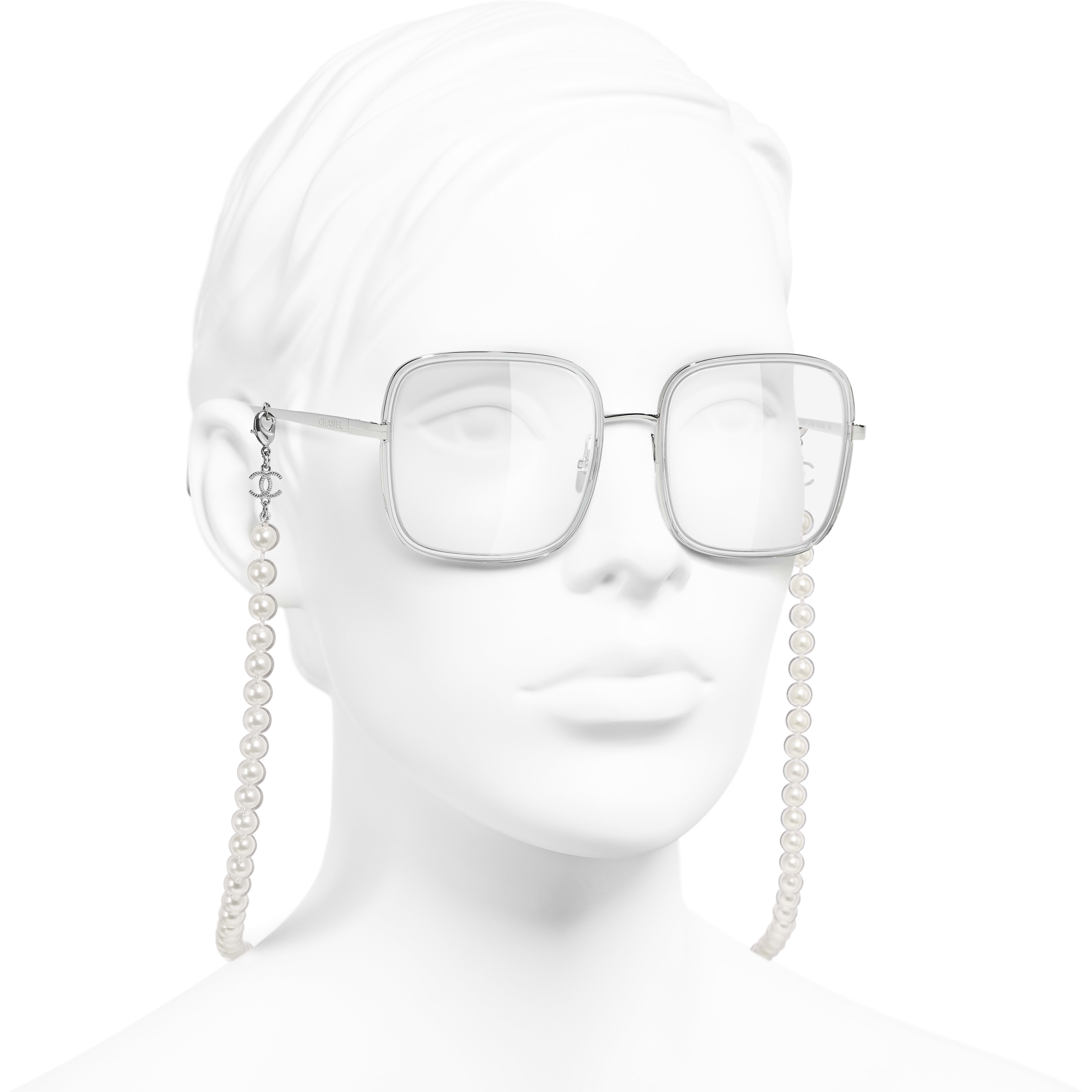 Square Eyeglasses - Silver - Metal, Resin & Glass Pearls - CHANEL - Worn 3/4 view - see standard sized version