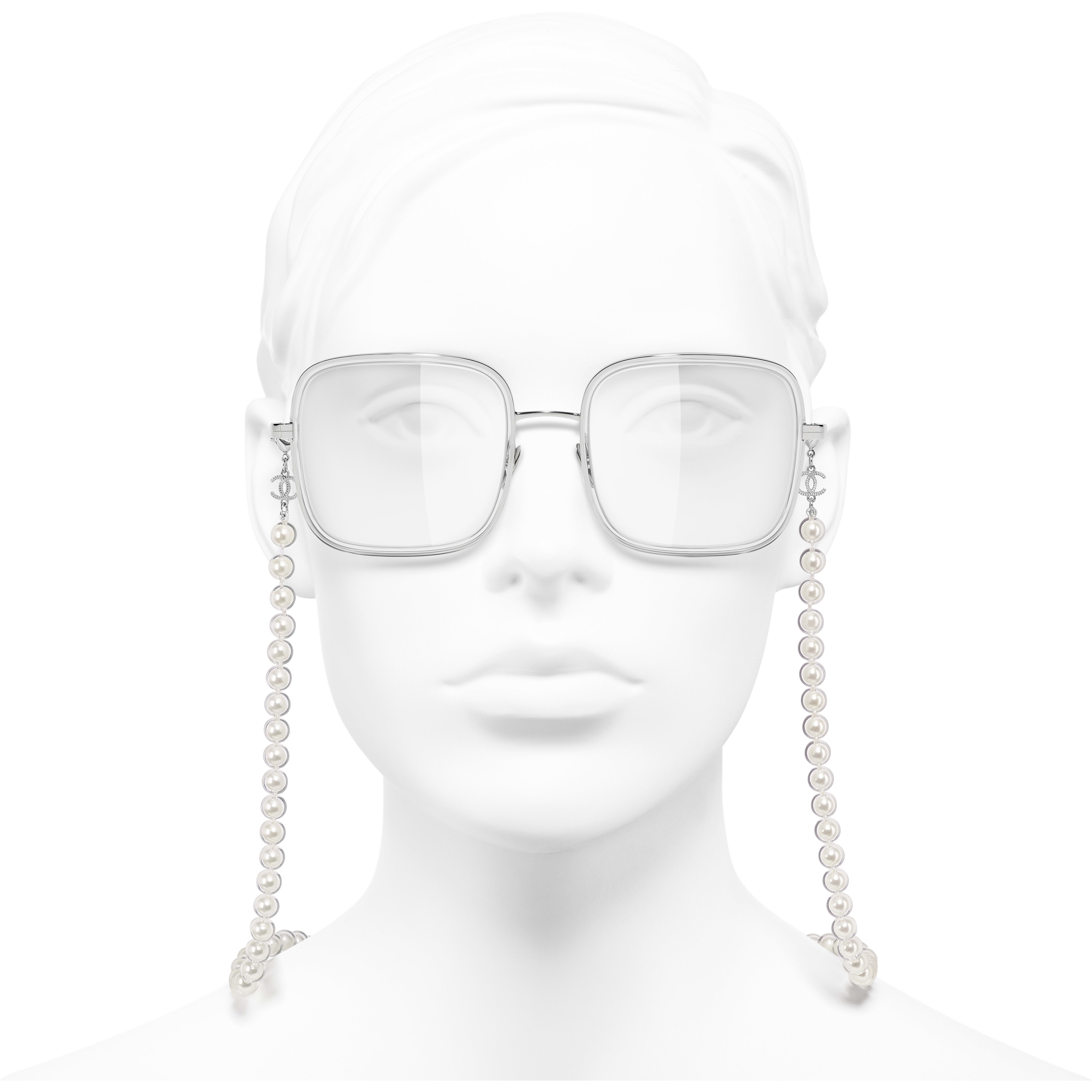 Square Eyeglasses - Silver - Metal, Resin & Glass Pearls - CHANEL - Worn front view - see standard sized version