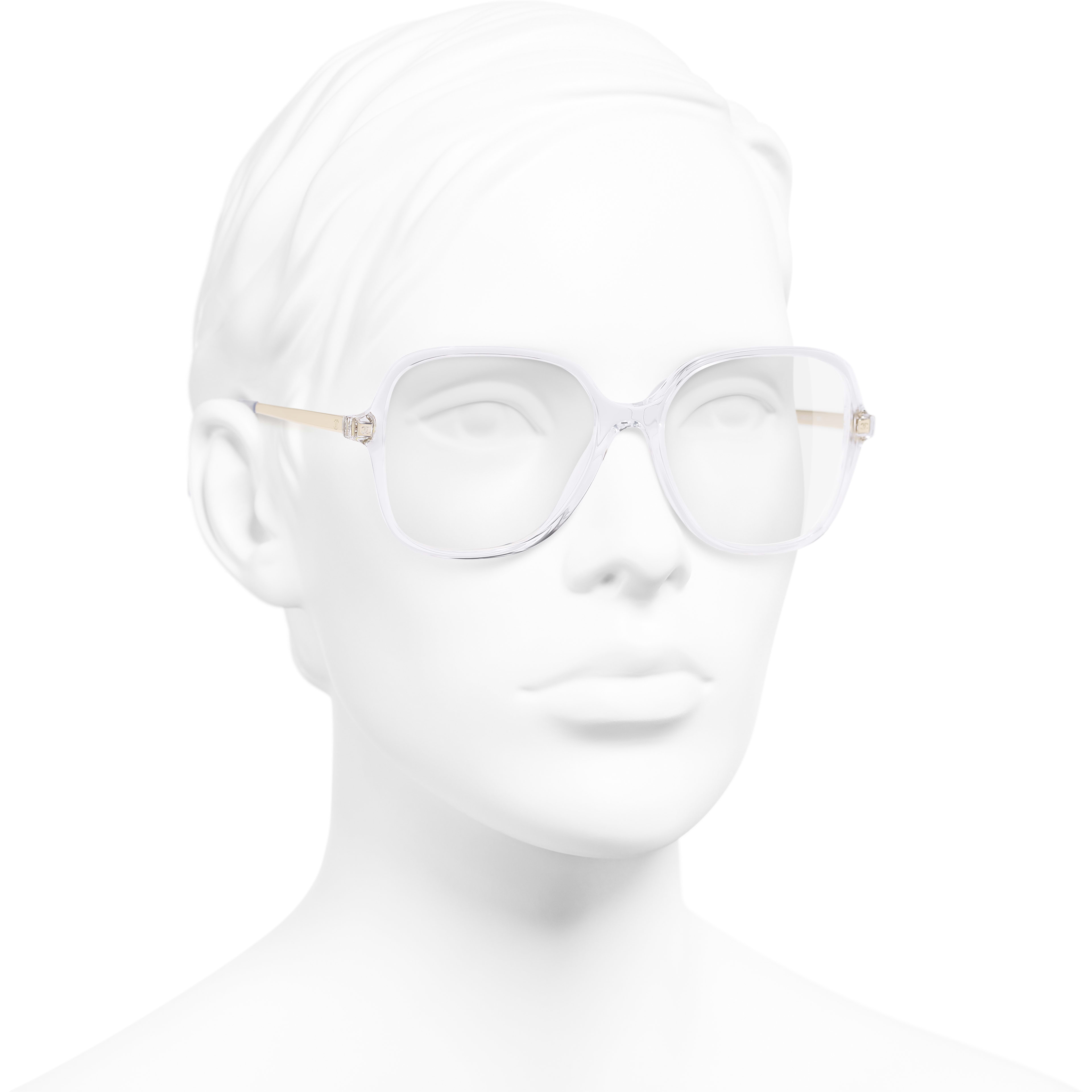 Square Eyeglasses - Transparent - Acetate & Metal - Worn 3/4 view - see standard sized version