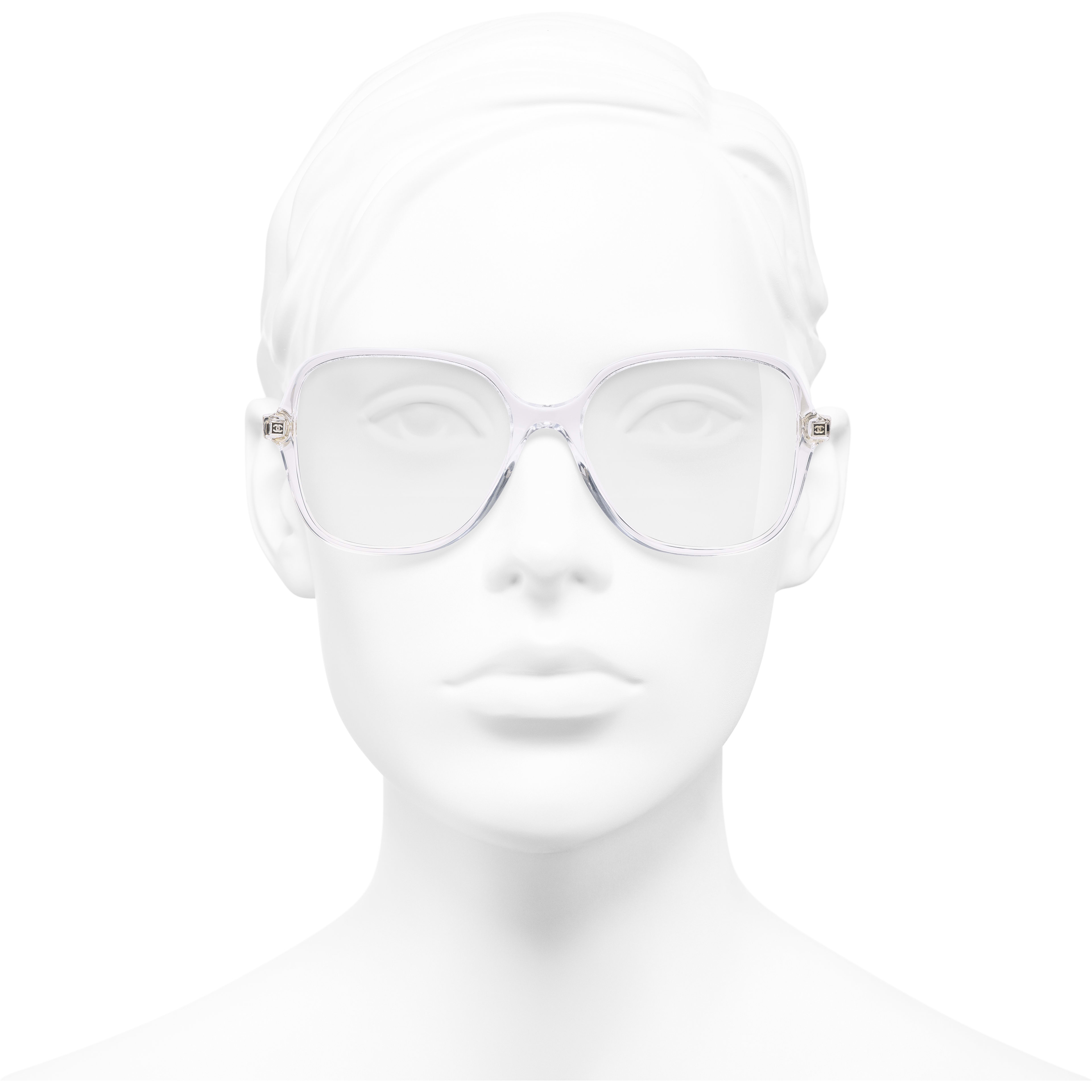 Square Eyeglasses - Transparent - Acetate & Metal - Worn front view - see standard sized version