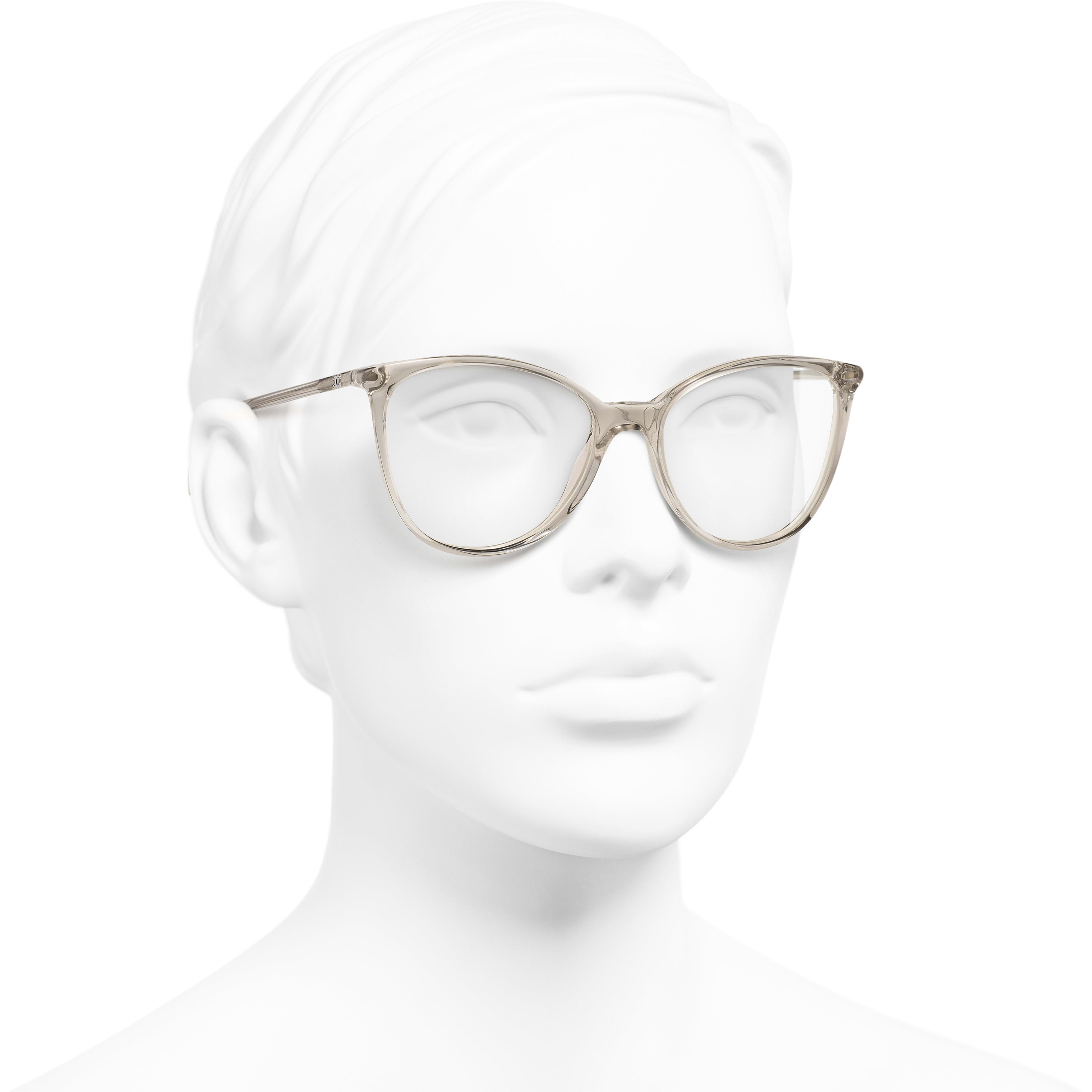 Square Eyeglasses - Transparent Beige - Acetate - Worn 3/4 view - see standard sized version
