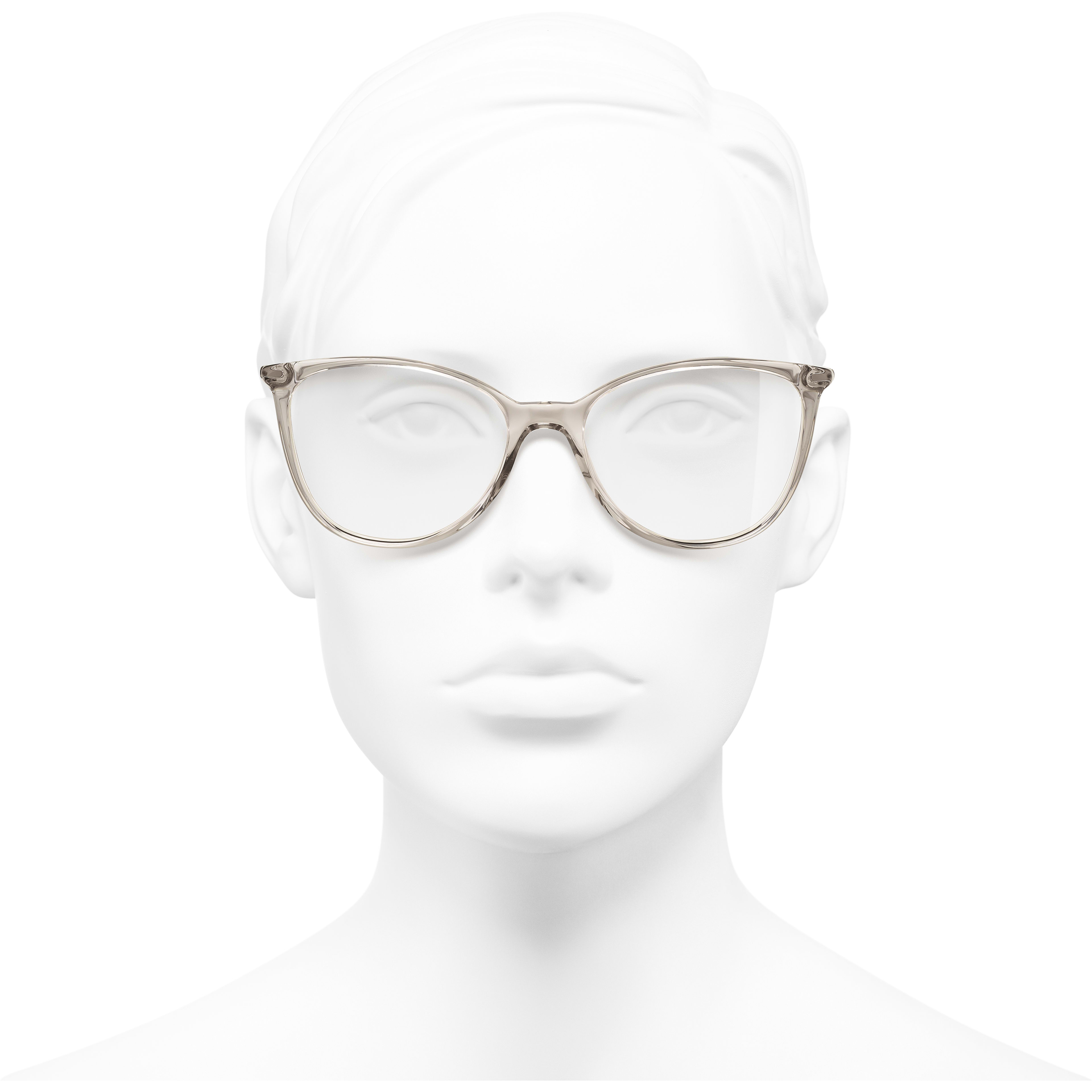 Square Eyeglasses - Transparent Beige - Acetate - Worn front view - see standard sized version
