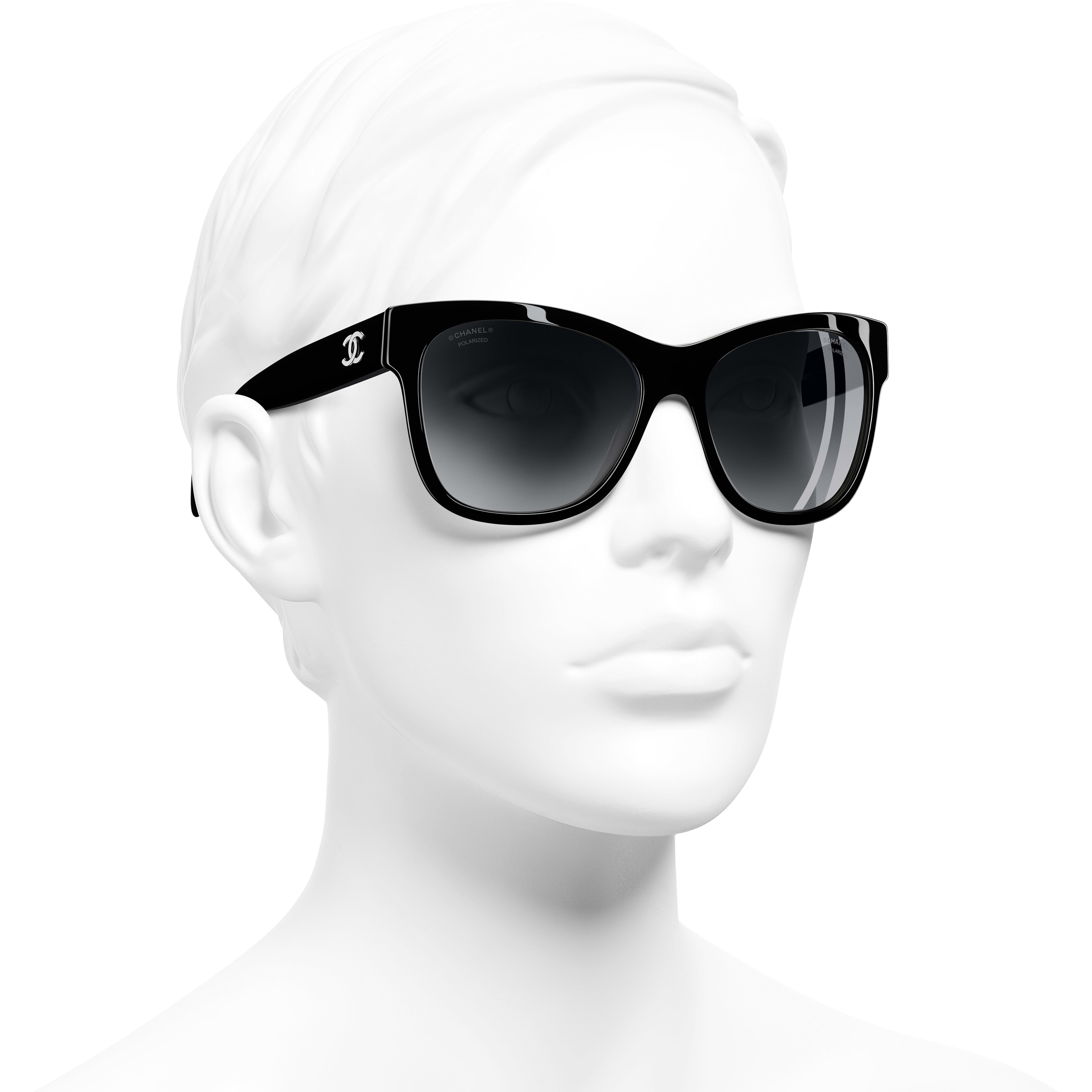 Square Sunglasses - Black - Acetate - Worn 3/4 view - see standard sized version