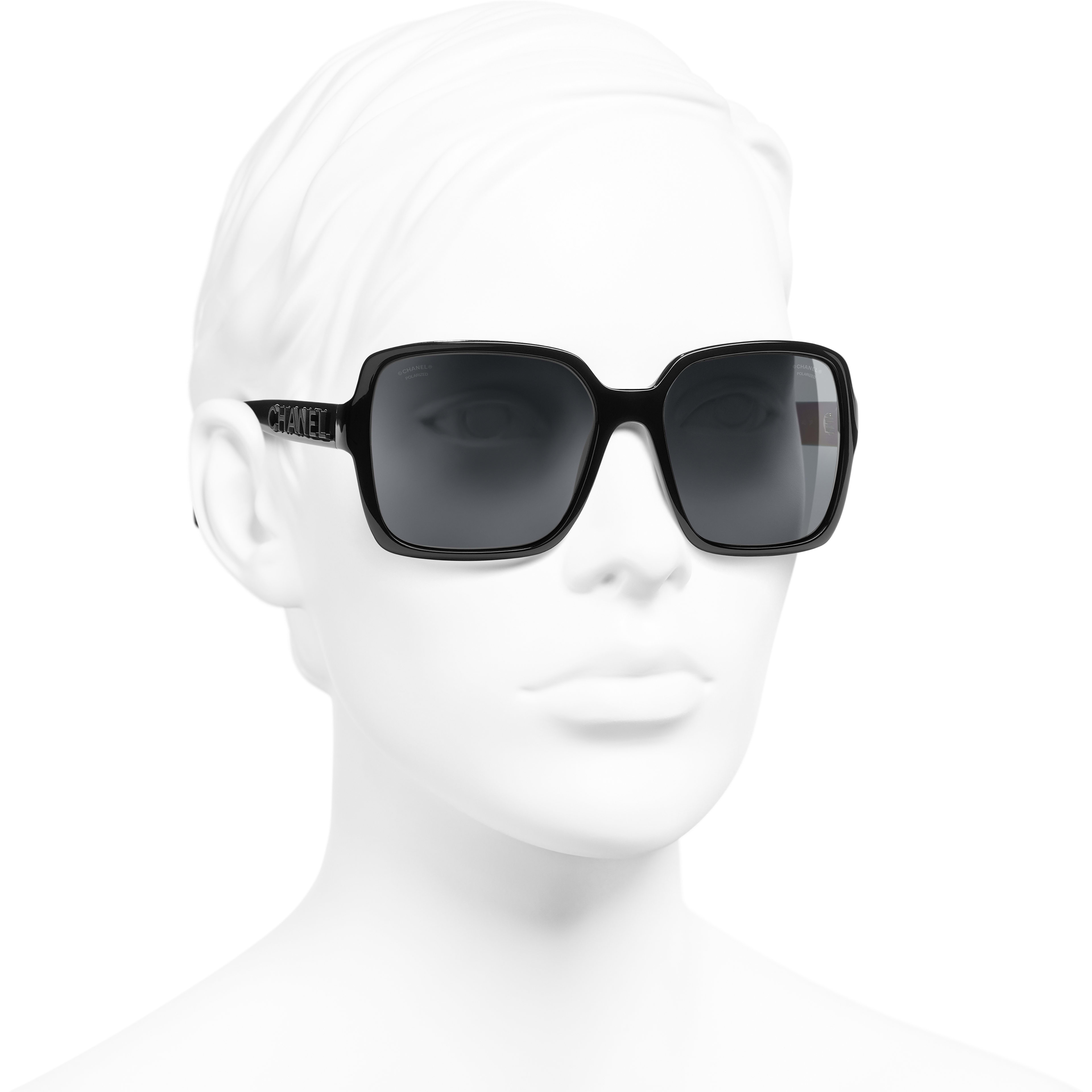 Gafas de sol cuadradas - Negro - Acetato - CHANEL - Vista 3/4 puesto - ver la versión tamaño estándar