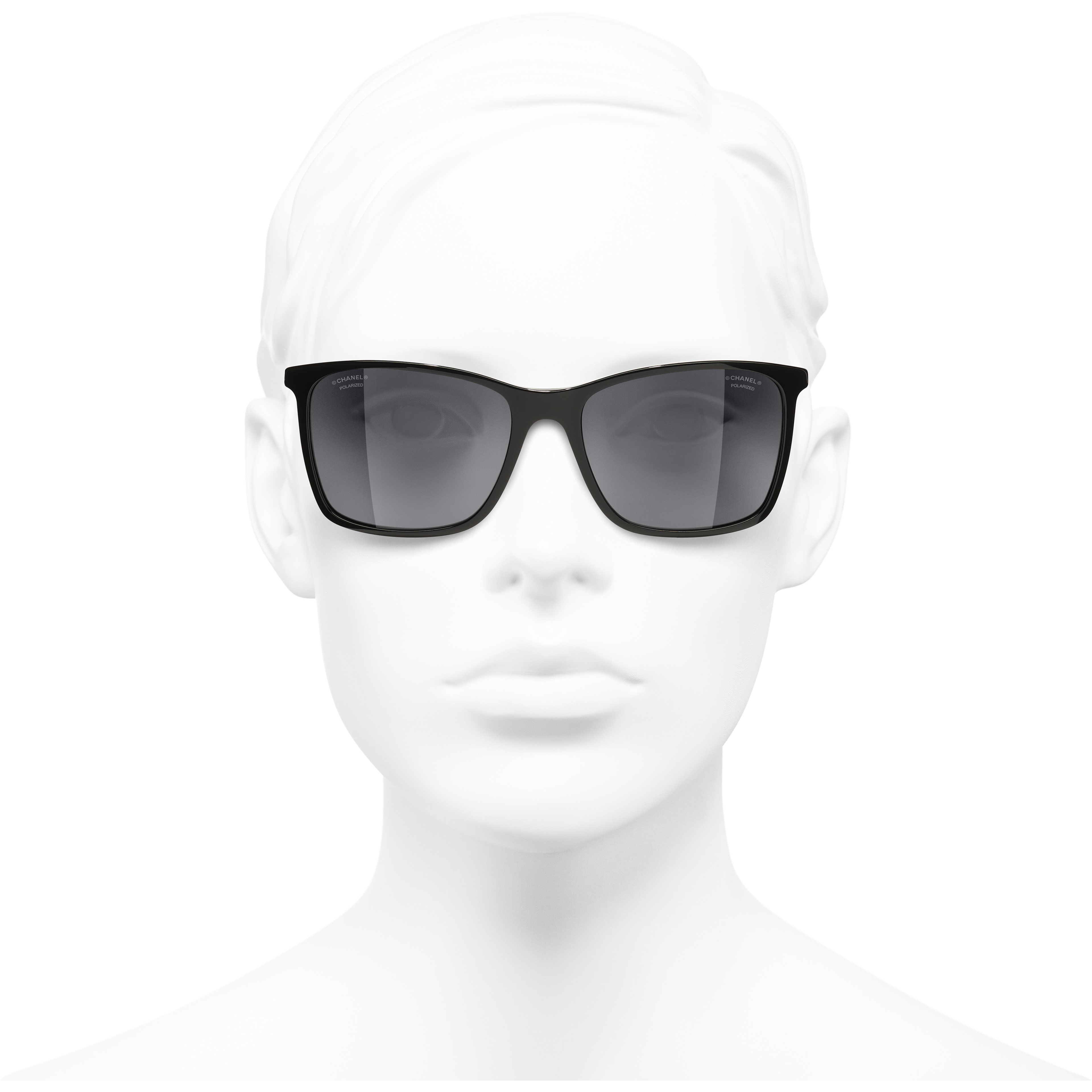 Square Sunglasses - Black - Acetate - CHANEL - Worn front view - see standard sized version