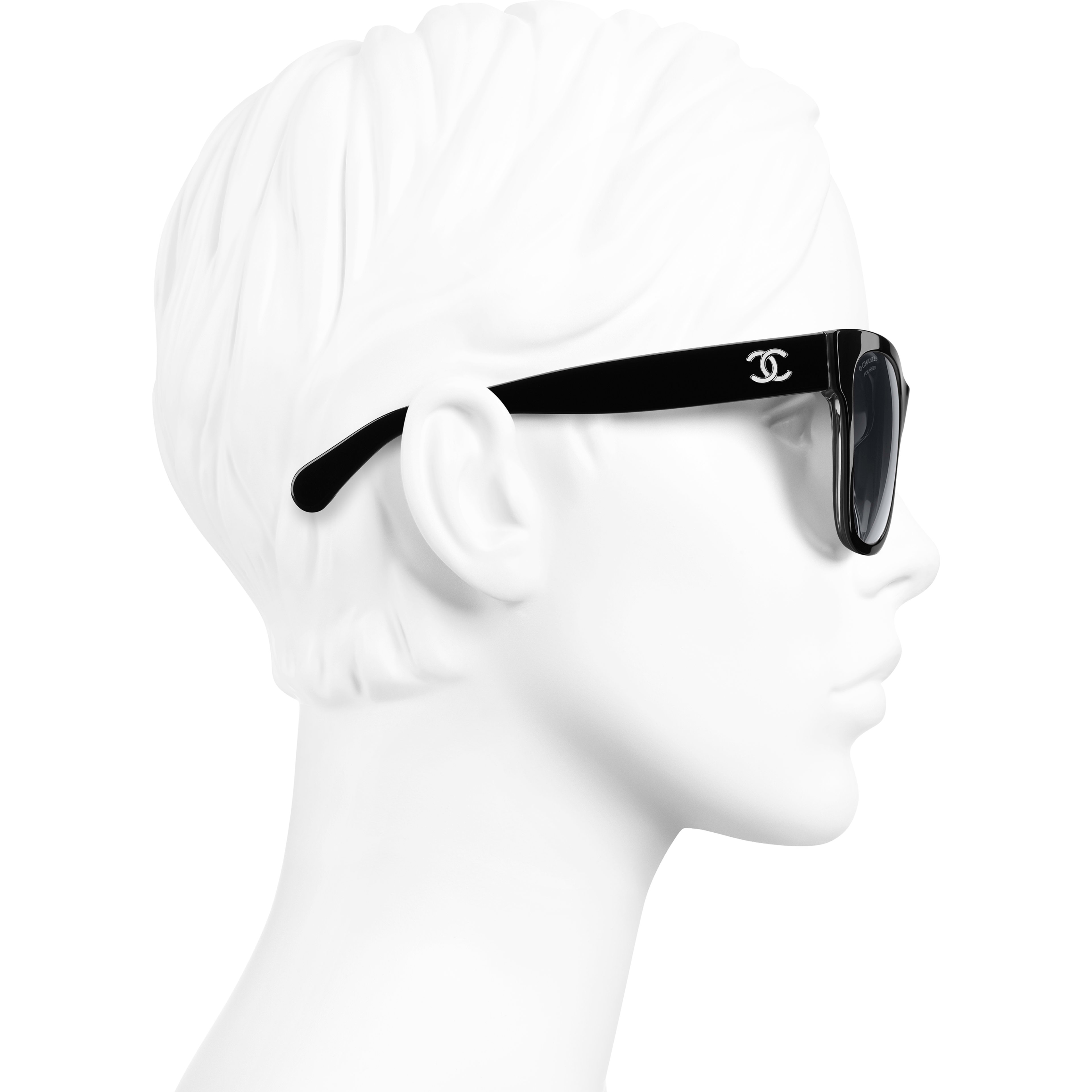 Square Sunglasses - Black - Acetate - Worn side view - see standard sized version