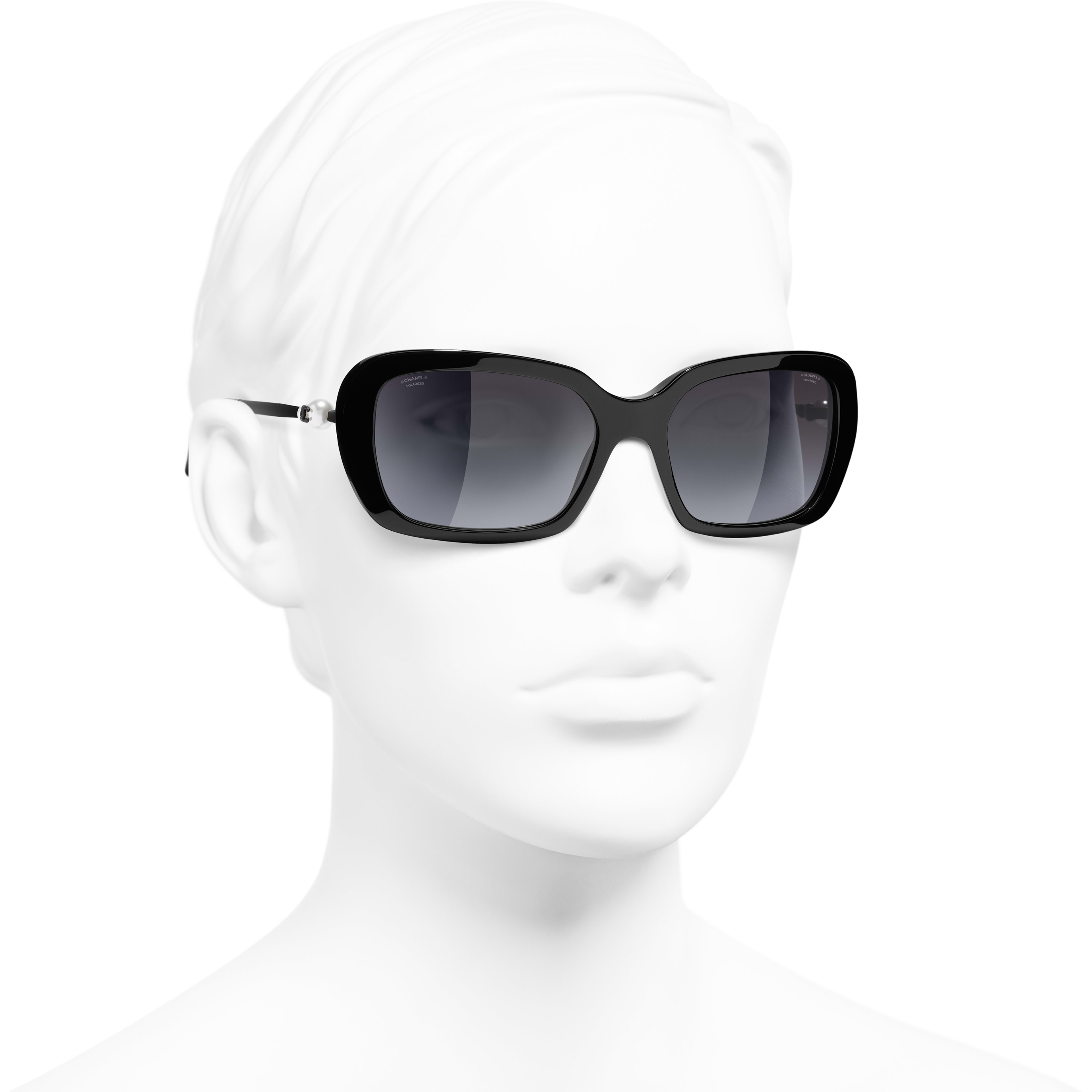 Square Sunglasses - Black - Acetate & Imitation Pearls - CHANEL - Worn 3/4 view - see standard sized version