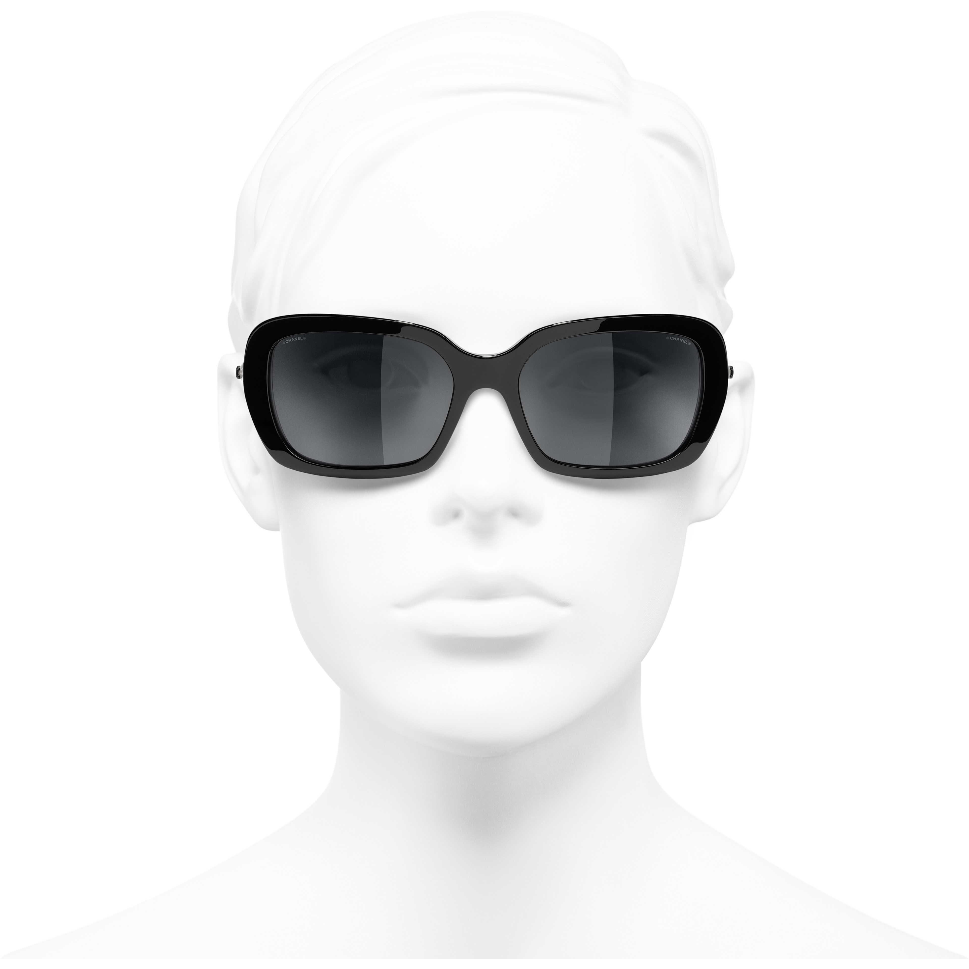 Square Sunglasses - Black - Acetate & Imitation Pearls - CHANEL - Worn front view - see standard sized version