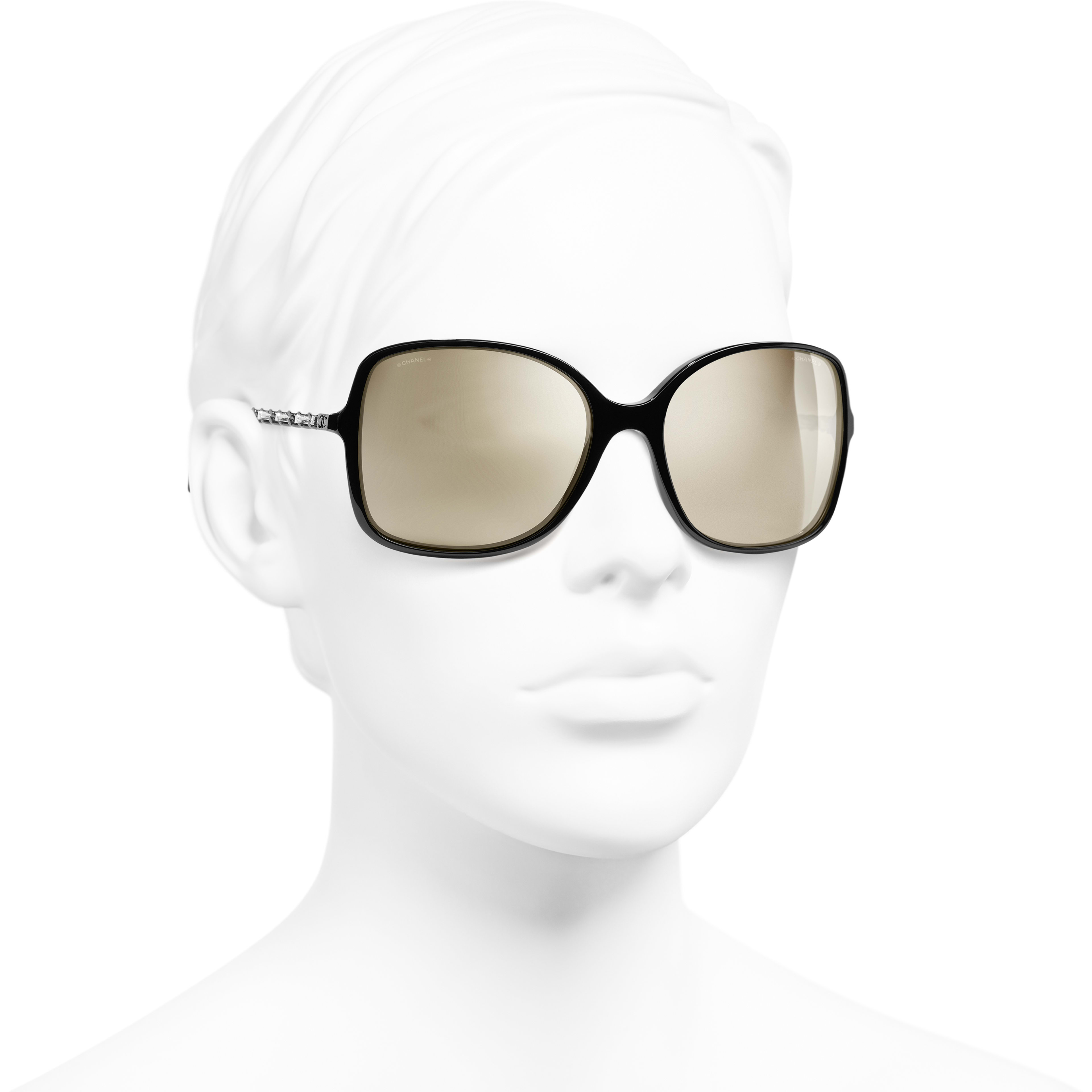 Square Sunglasses - Black - Acetate & Lambskin - Gold Lenses - Worn 3/4 view - see standard sized version