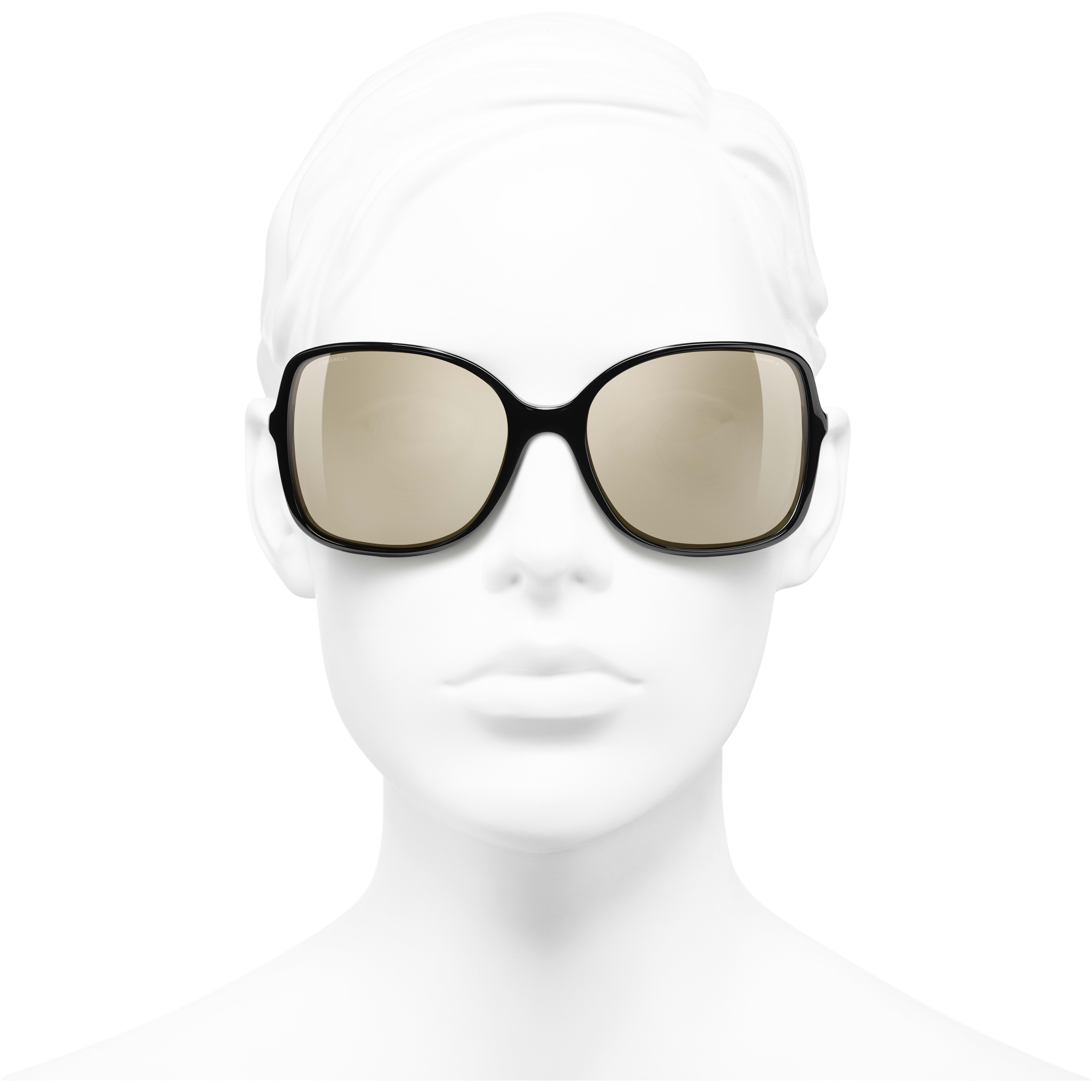 Square Sunglasses - Black - Acetate & Lambskin - Gold Lenses - Worn front view - see standard sized version