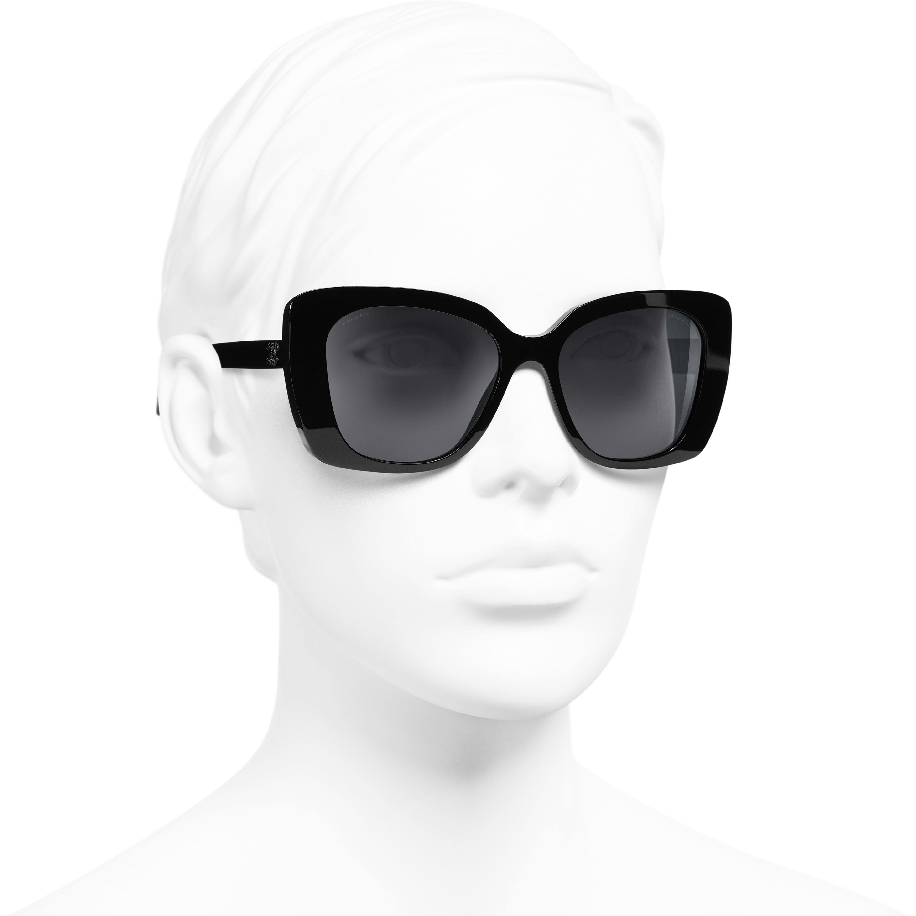Square Sunglasses - Black - Acetate & Diamanté - CHANEL - Worn 3/4 view - see standard sized version