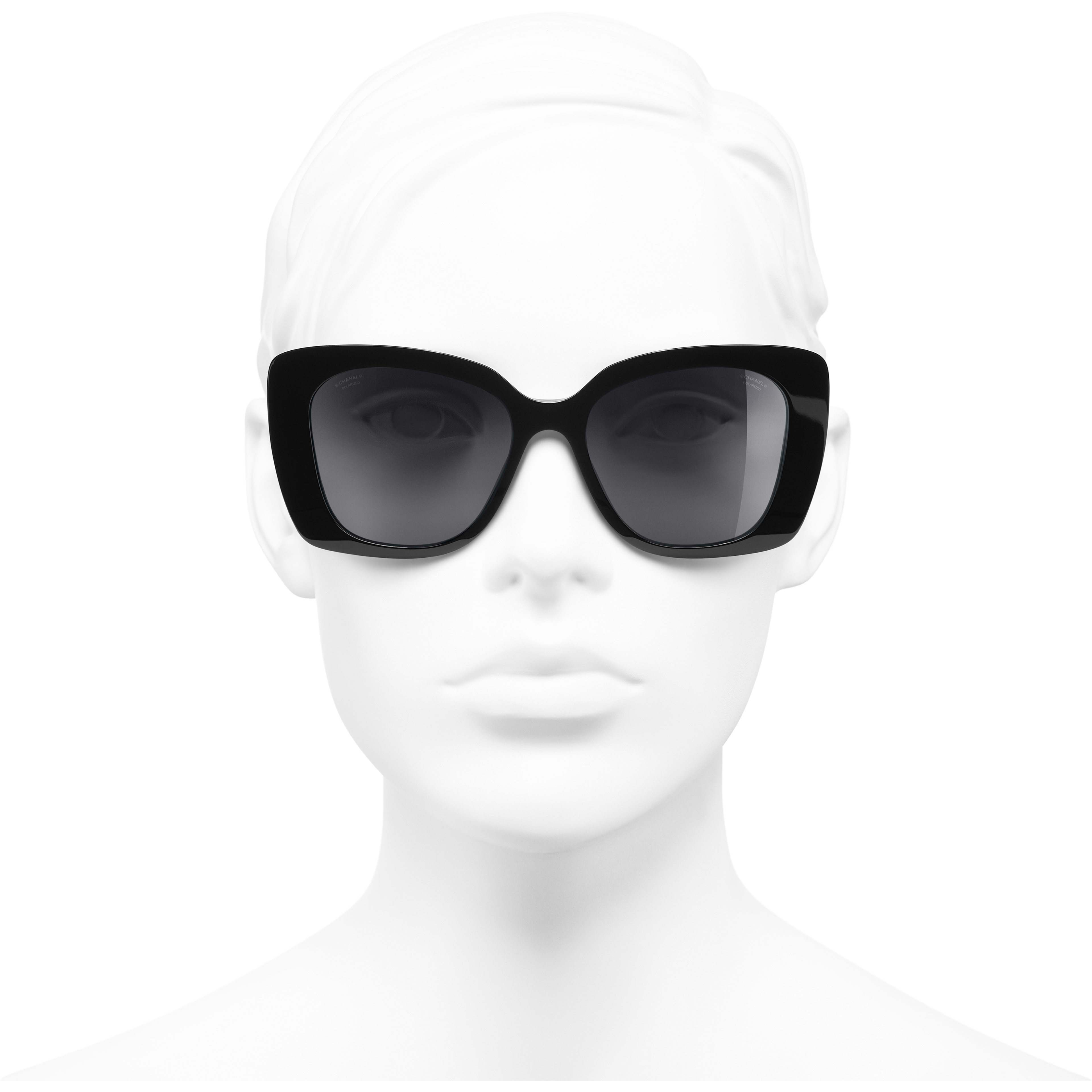 Square Sunglasses - Black - Acetate & Diamanté - CHANEL - Worn front view - see standard sized version