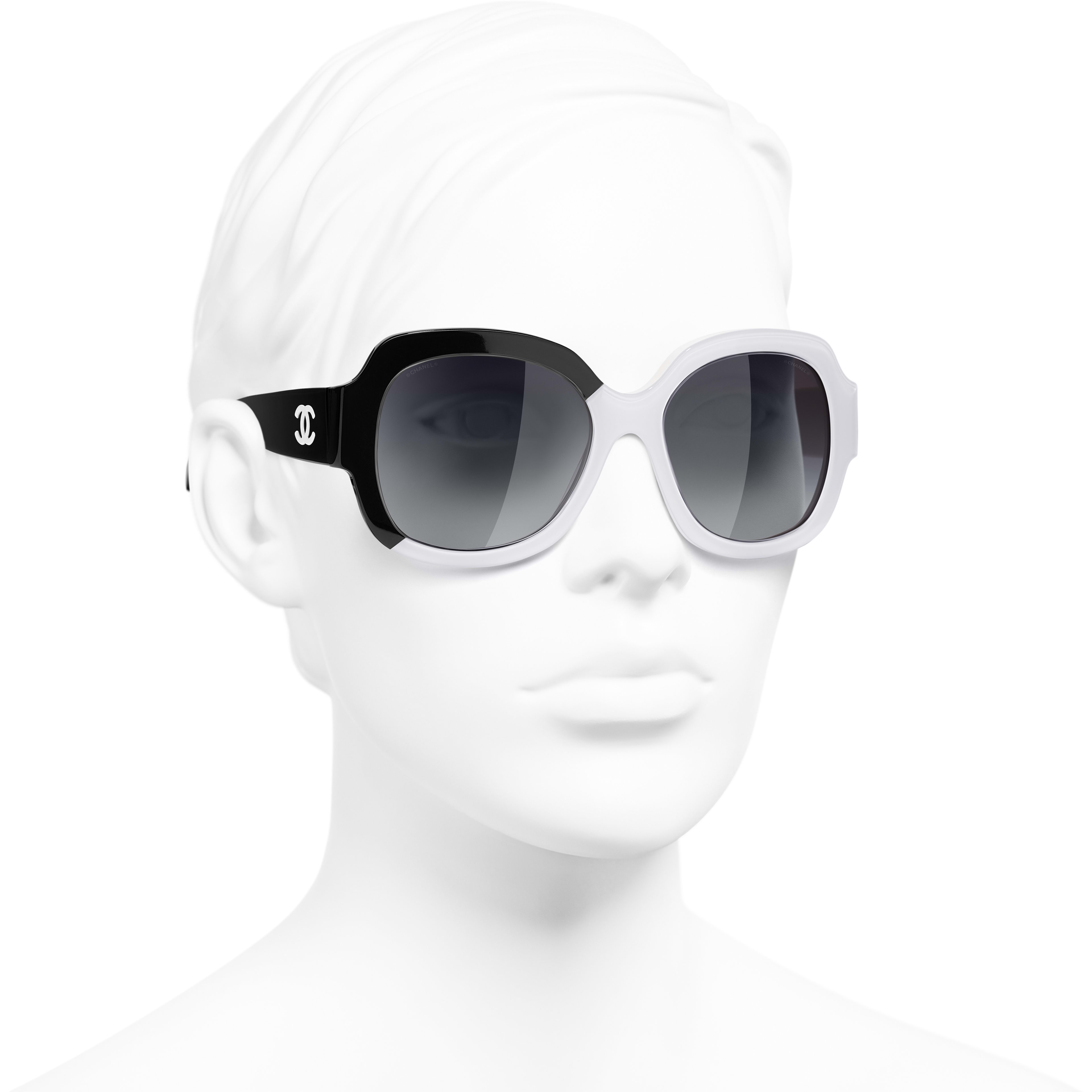 Square Sunglasses - Black & White - Acetate - CHANEL - Worn 3/4 view - see standard sized version