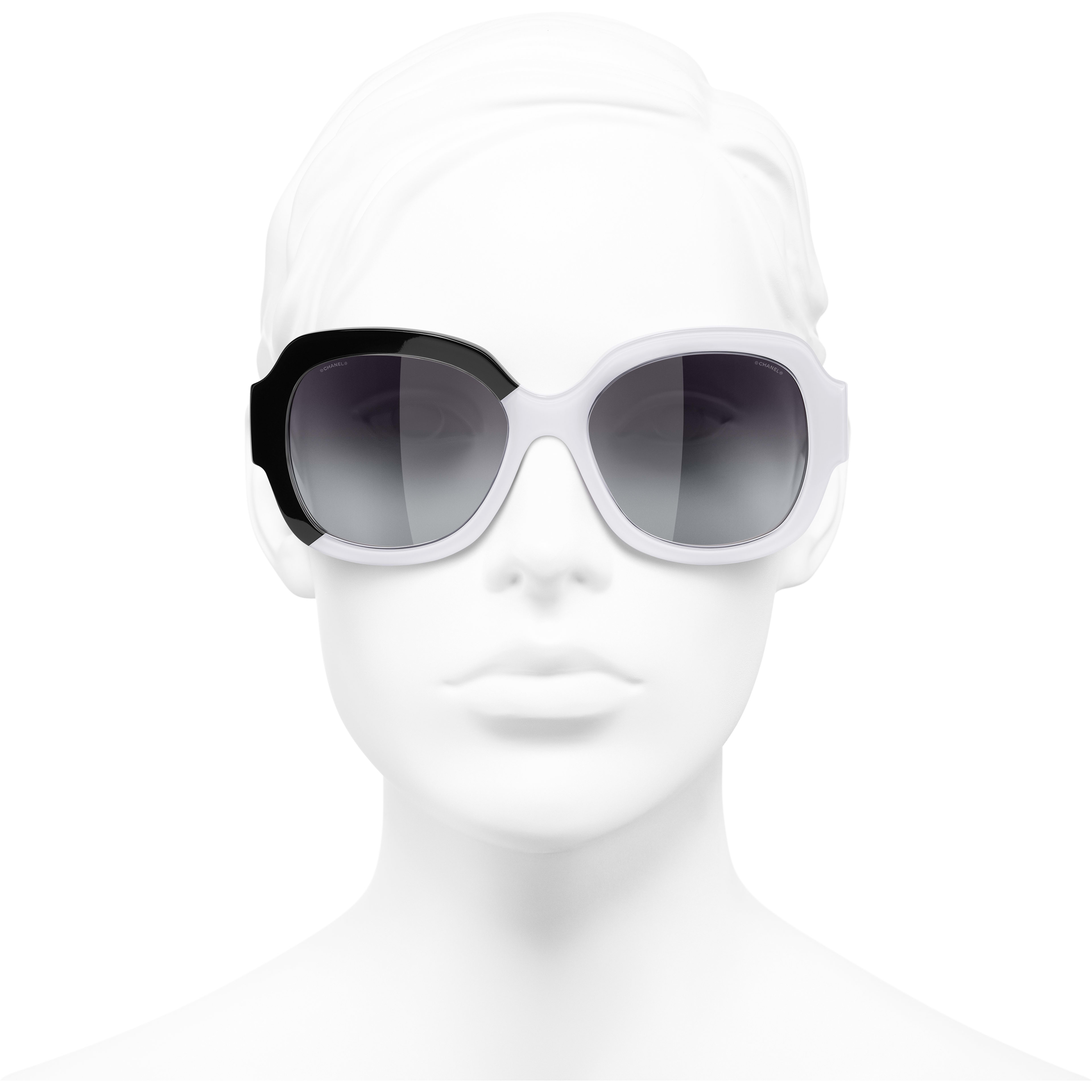 Square Sunglasses - Black & White - Acetate - CHANEL - Worn front view - see standard sized version