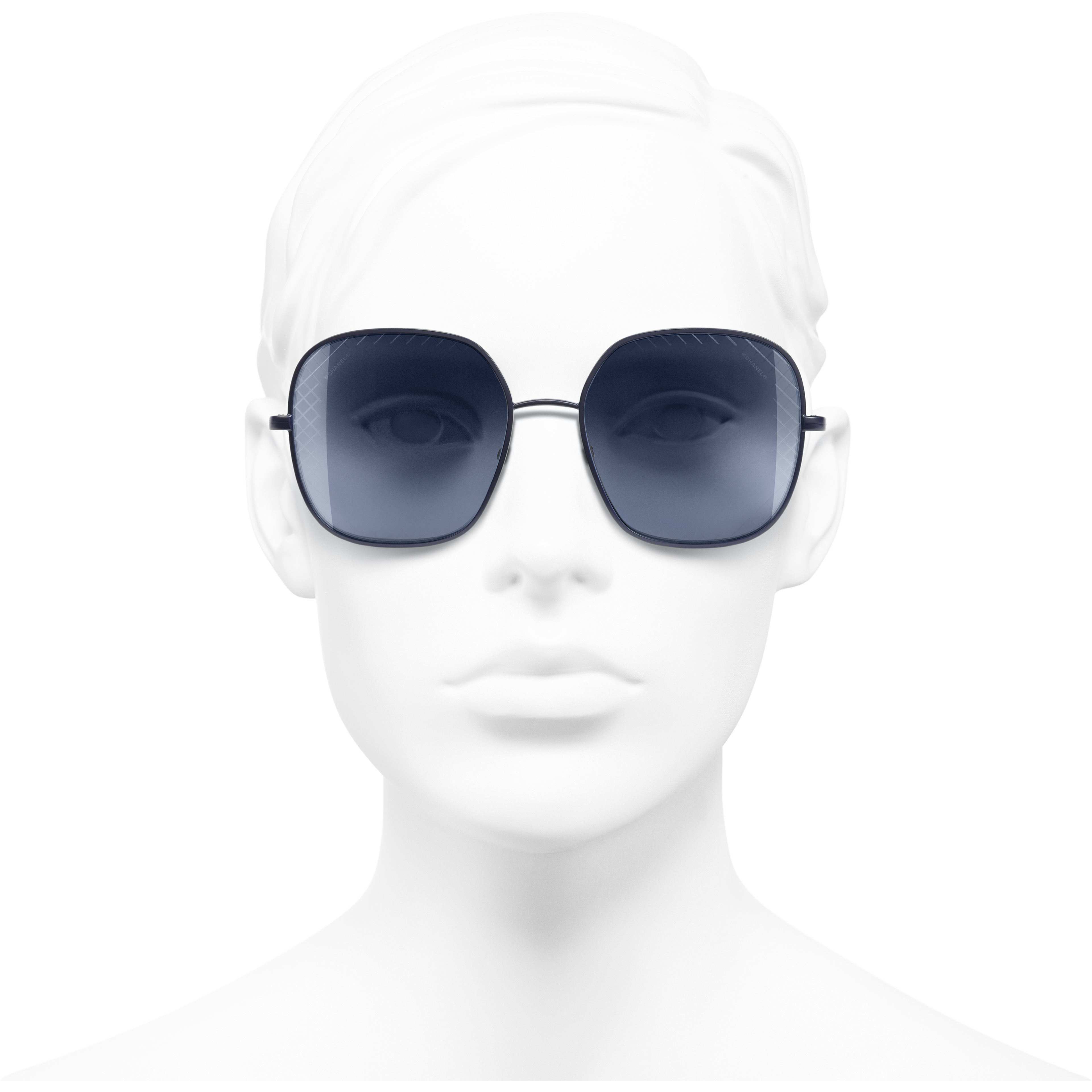 Square Sunglasses - Blue - Metal - CHANEL - Worn front view - see standard sized version
